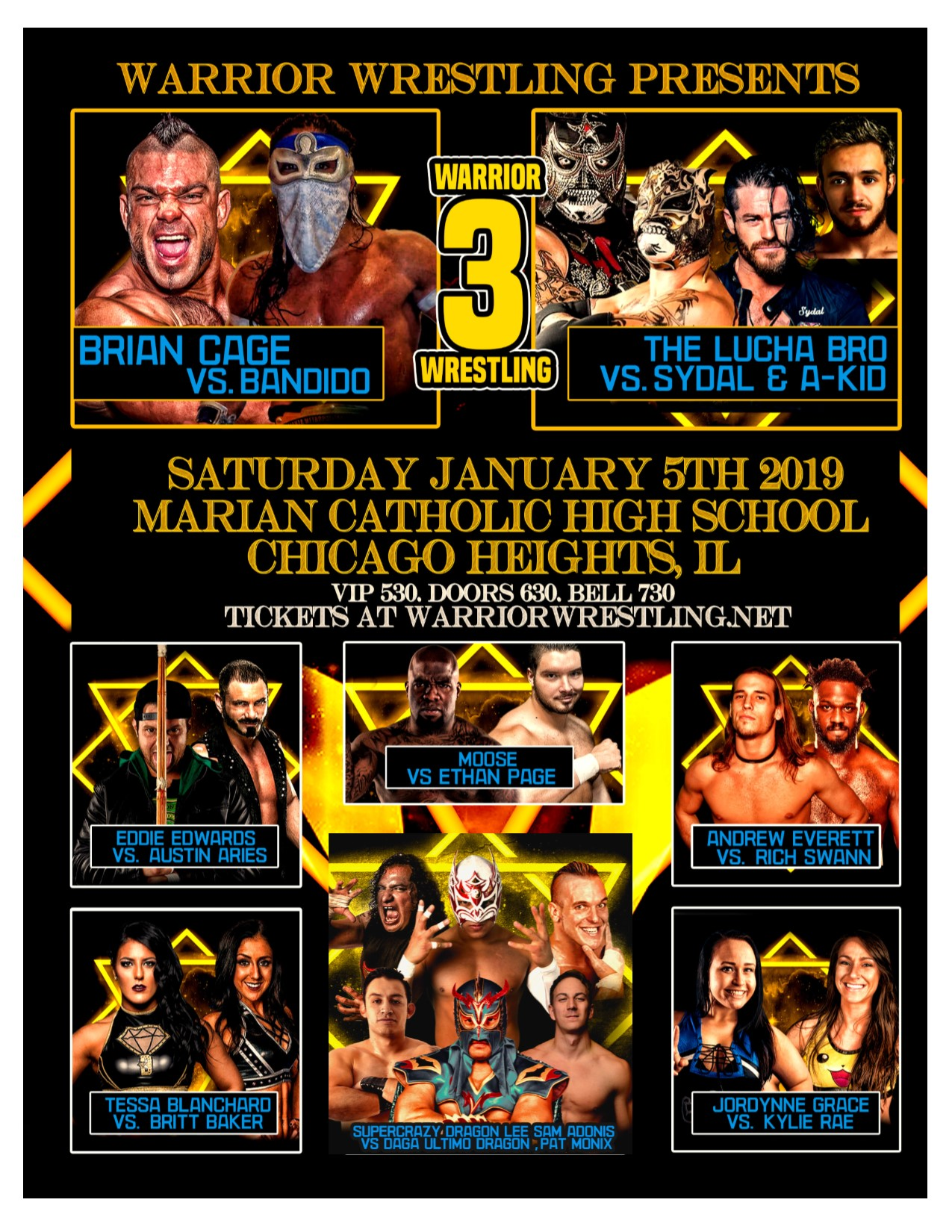 The card for Saturday night's Warrior Wrestling 3 event at Marian Catholic High School in Chicago Heights, Ill.  (Photo courtesy Warrior Wrestling)