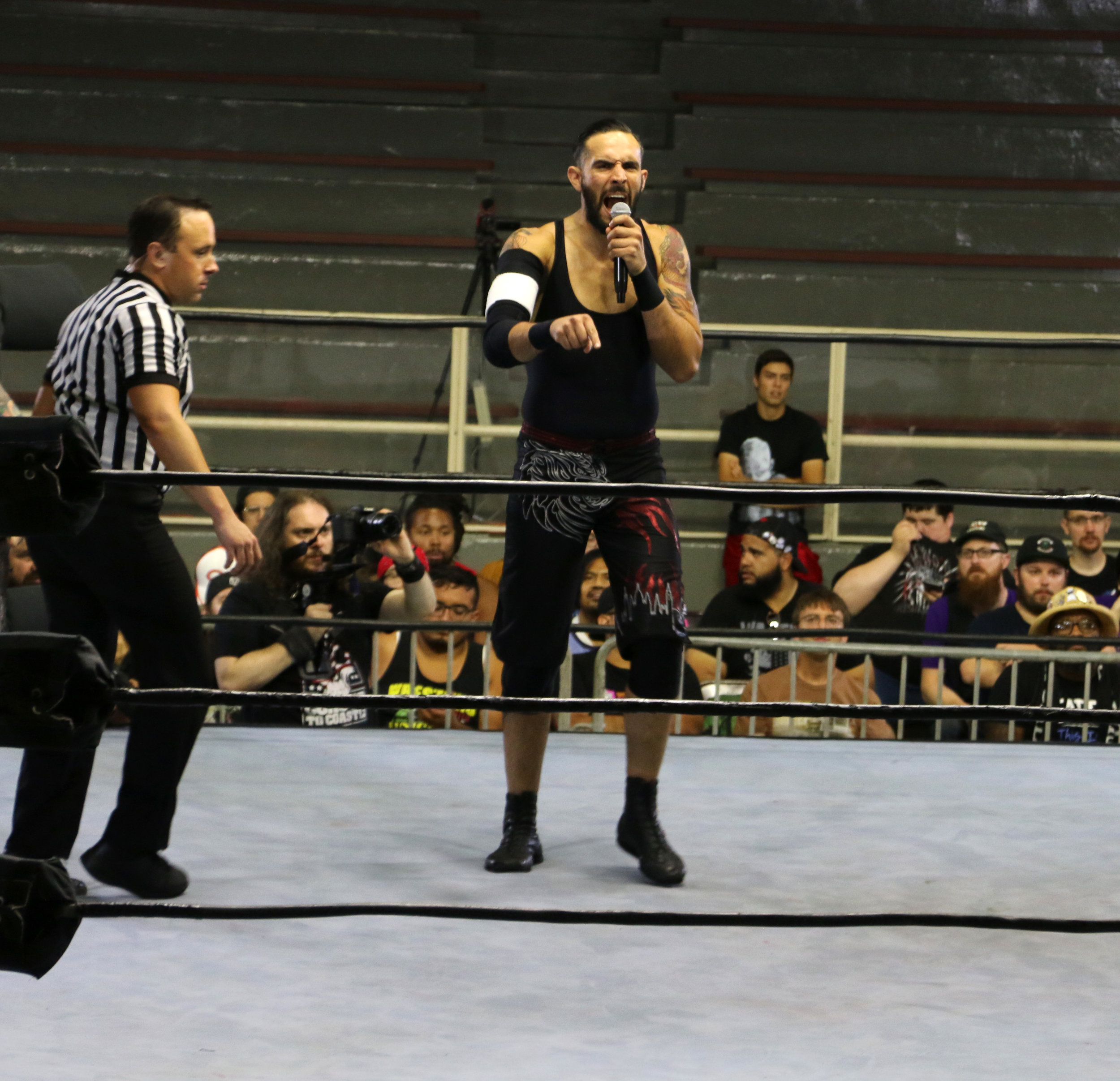 Eddie Dennis (pictured at PROGRESS Wrestling's Chicago show in August 2018) is one of NXT UK's brightest stars. He will face Dave Mastiff at NXT UK Takeover: Blackpool on Saturday night.