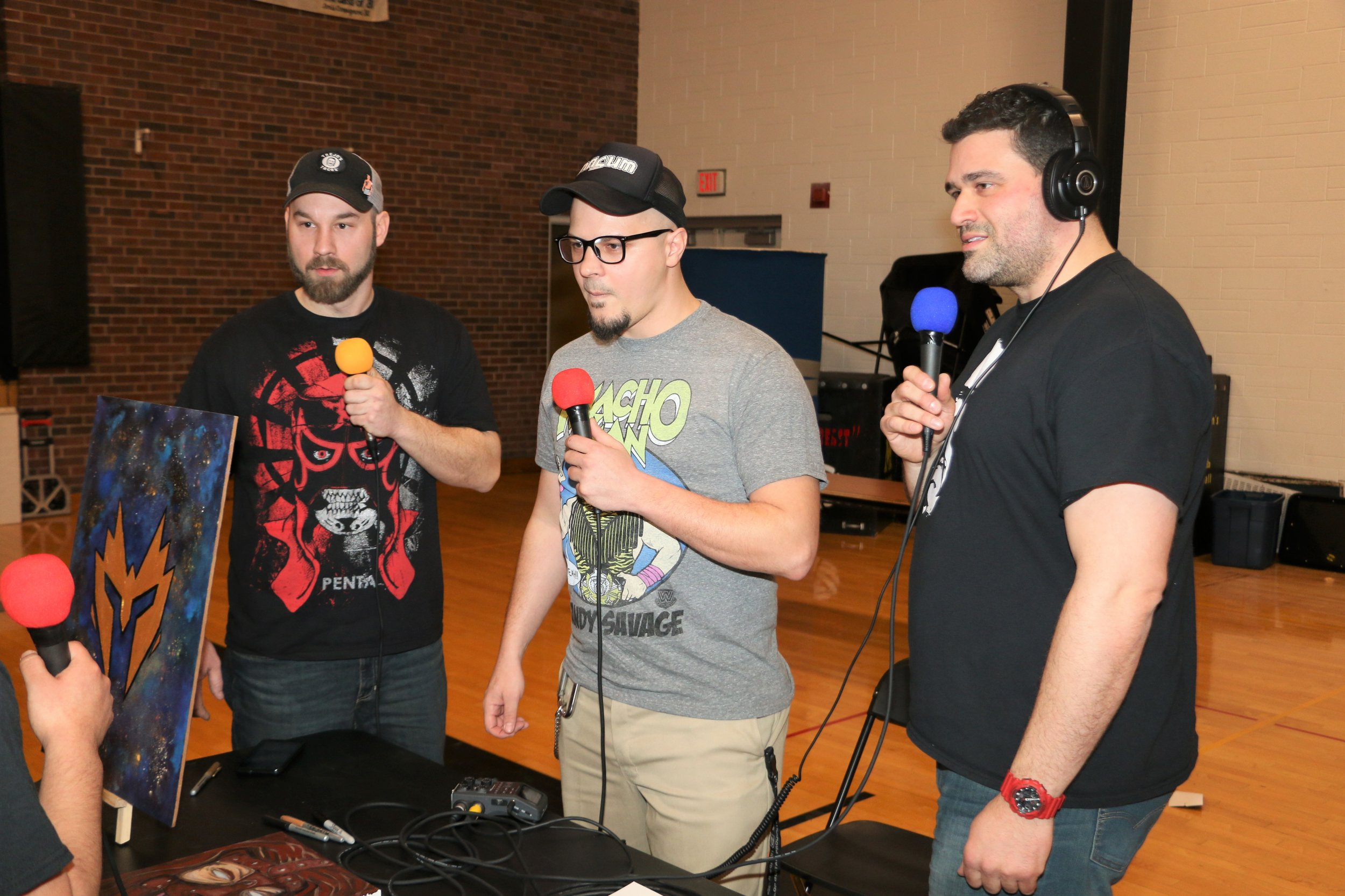 The guys from Juice Pro Wrestling Podcast during the VIP Fan Fest.