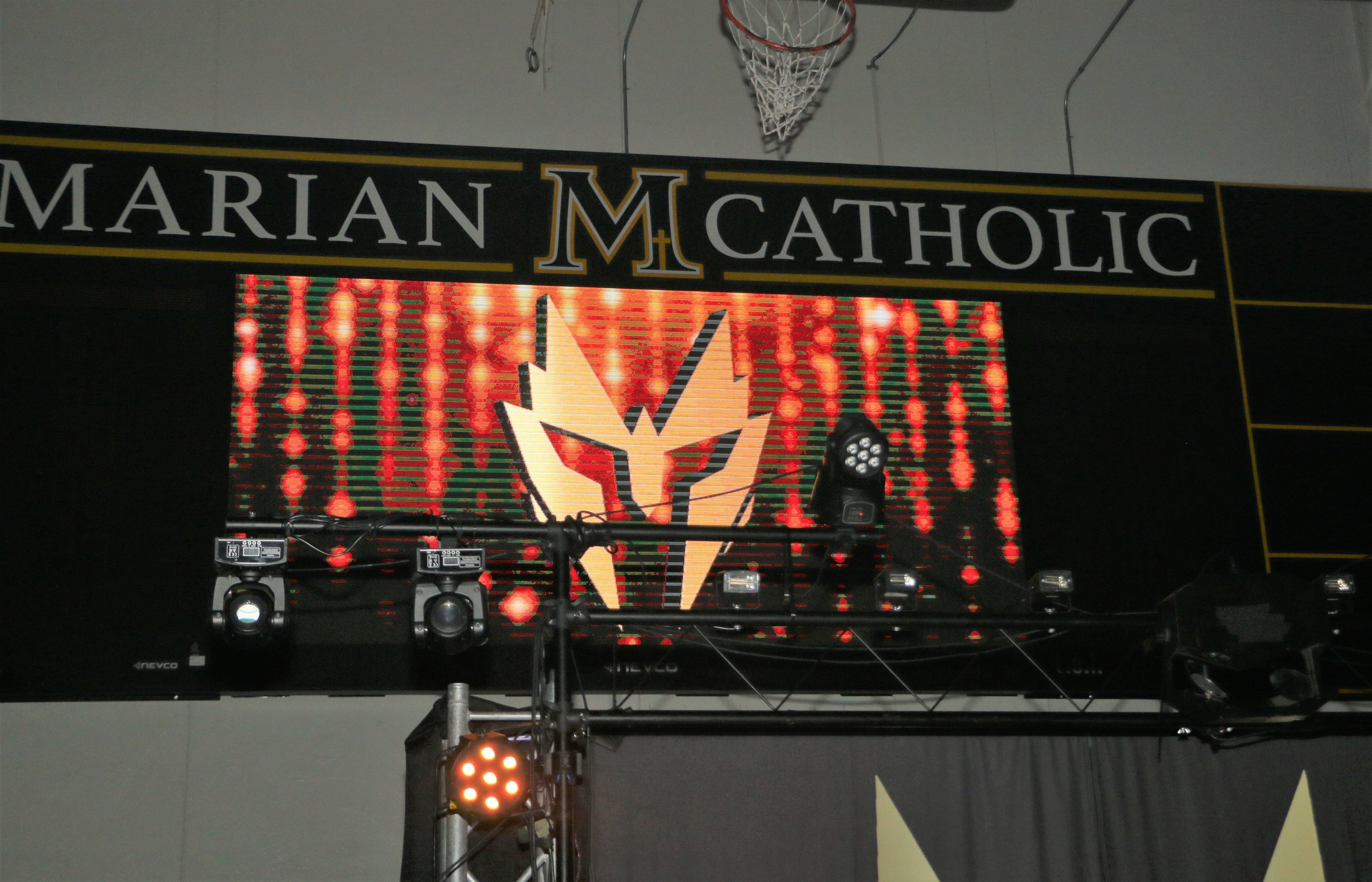 Marian Catholic's new video screen was a perfect addition for Warrior Wrestling 4.