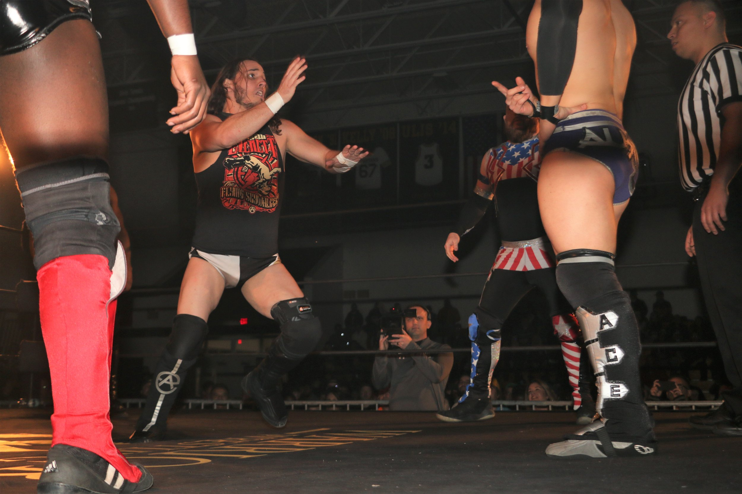 Andrew Everett doesn't feel very welcome in the six-man scramble match.