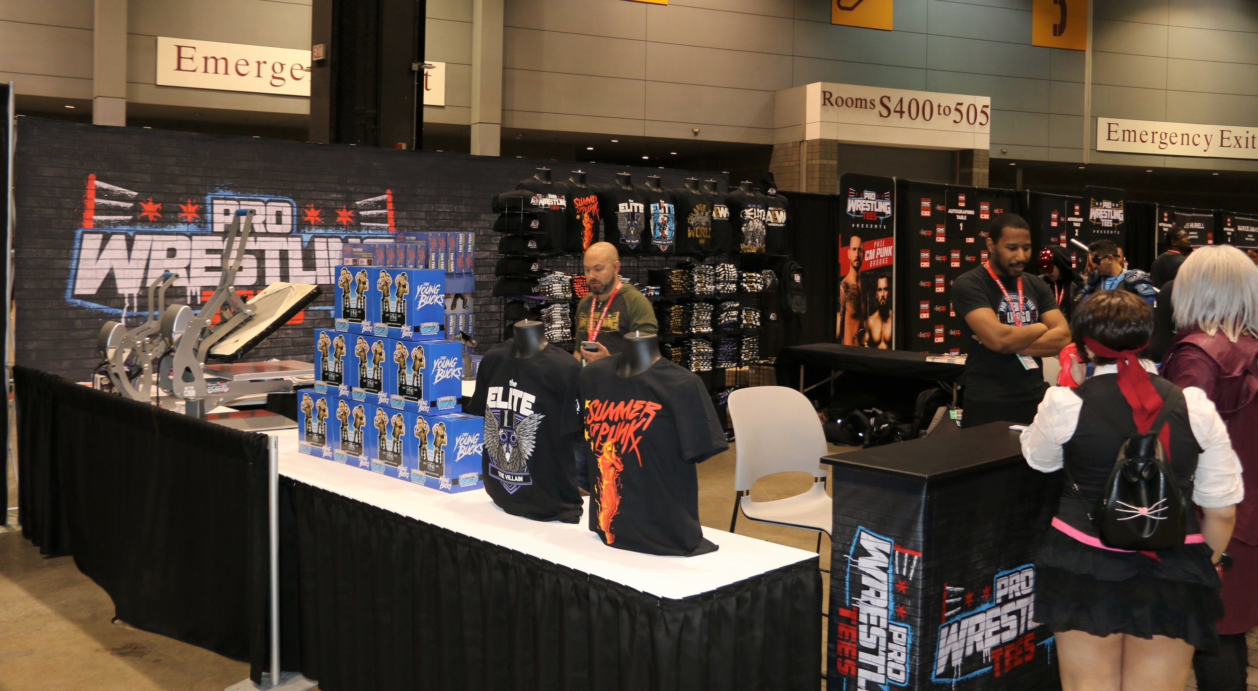 Pro Wrestling Tees booth at C2E2.