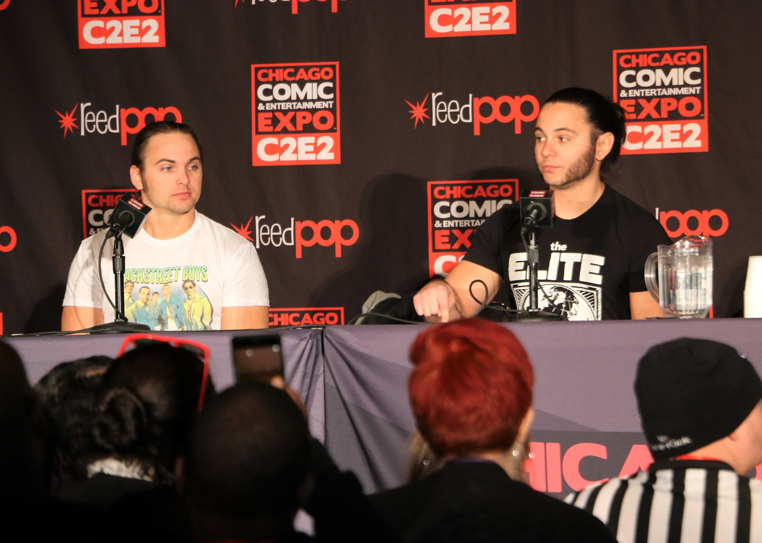 The Young Bucks during the All Elite Wrestling panel.