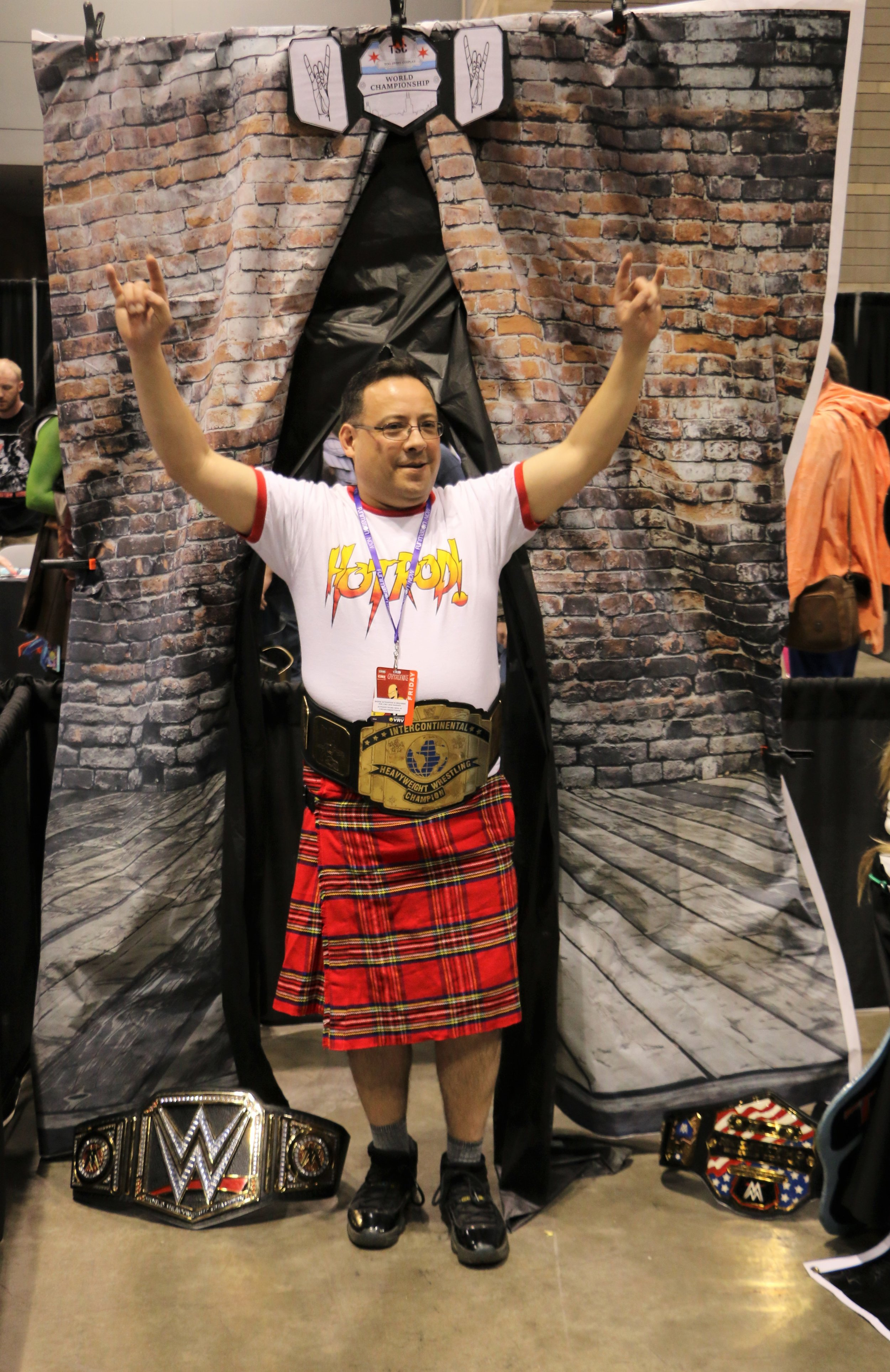 Rowdy Roddy Piper cosplayer at the Too Sweet Cosplay booth.