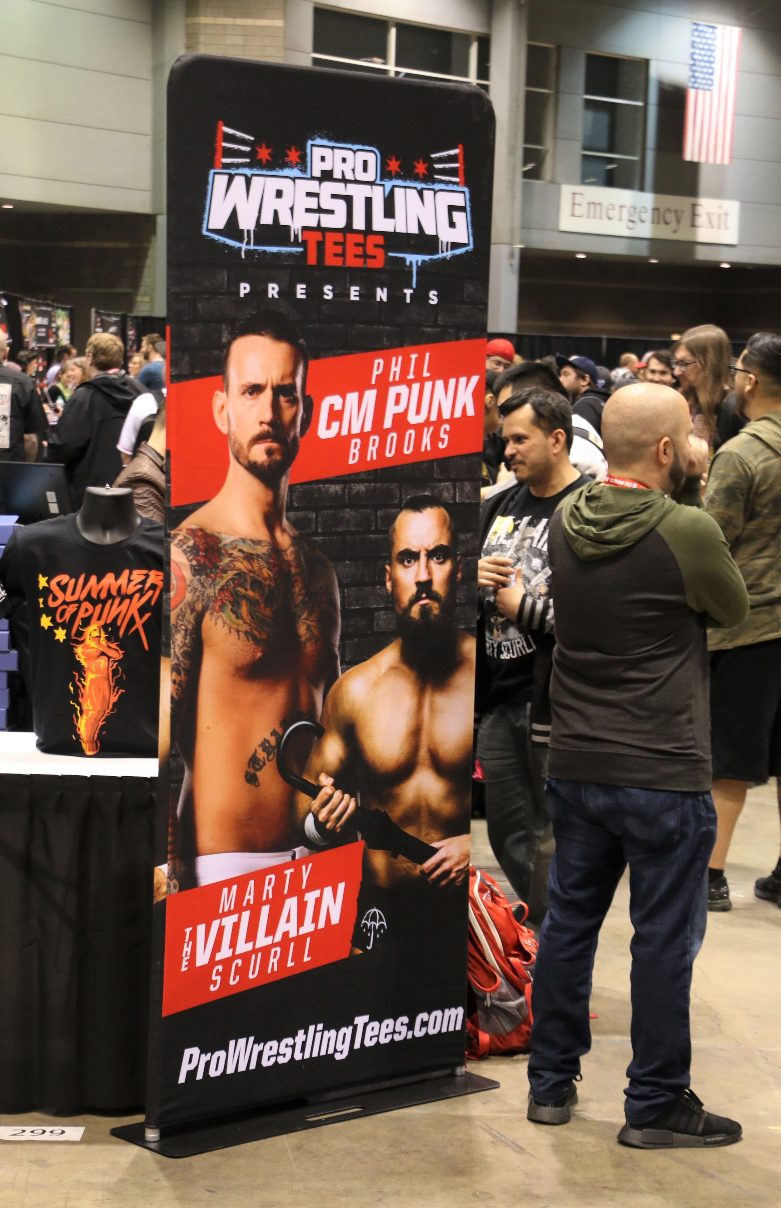 Pro Wrestling Tees brought CM Punk and Marty Scurll for meet and greets at C2E2.