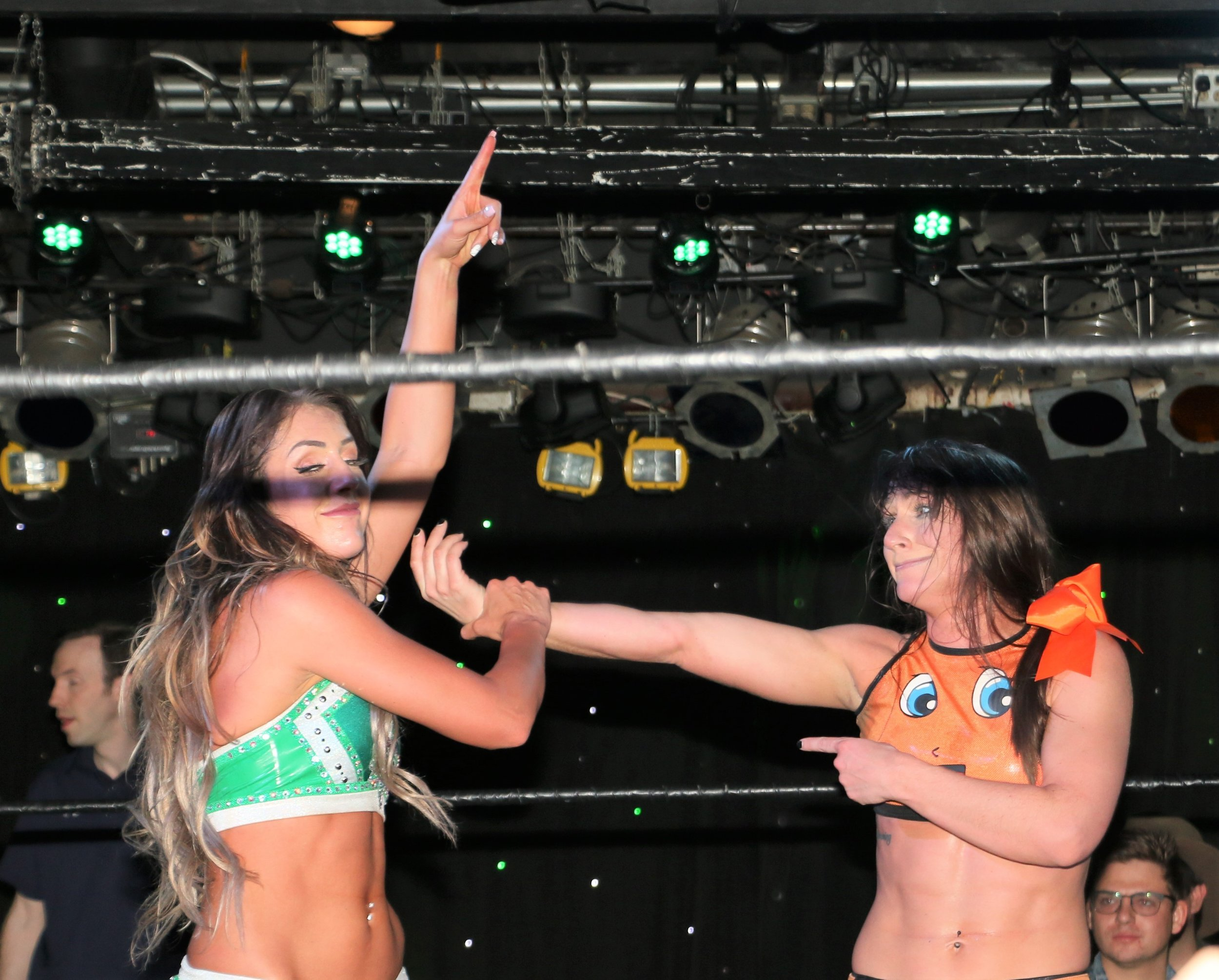 An emotional Kylie Rae, right, congratulates new Zelo Pro Wrestling Women's Champion Britt Baker after their main event match on Sunday at Joe's on Weed St.  (Photo by Mike Pankow)