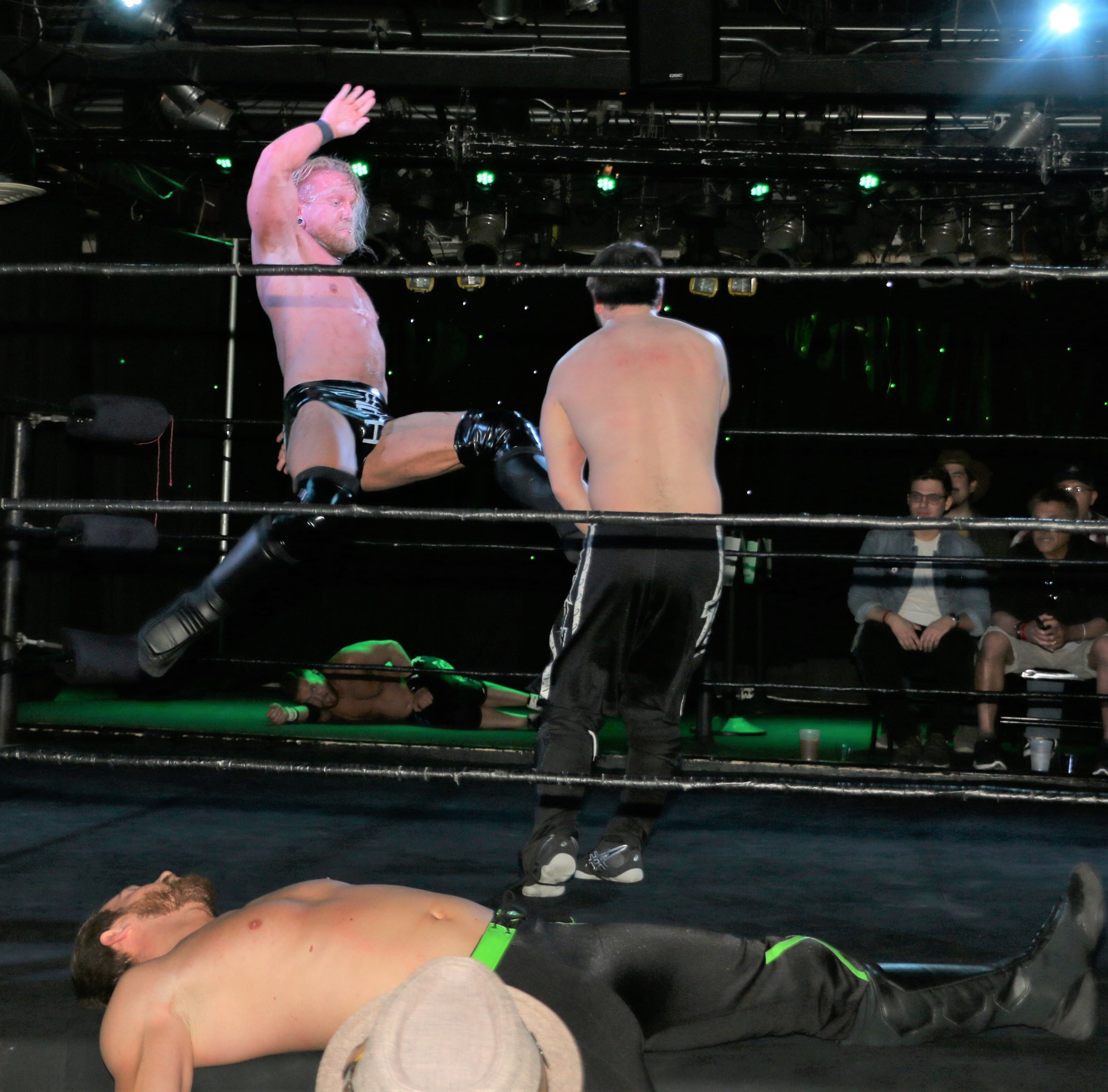 Brubaker delivers an enziguri to Brett Gakiya during the opening tag team match.