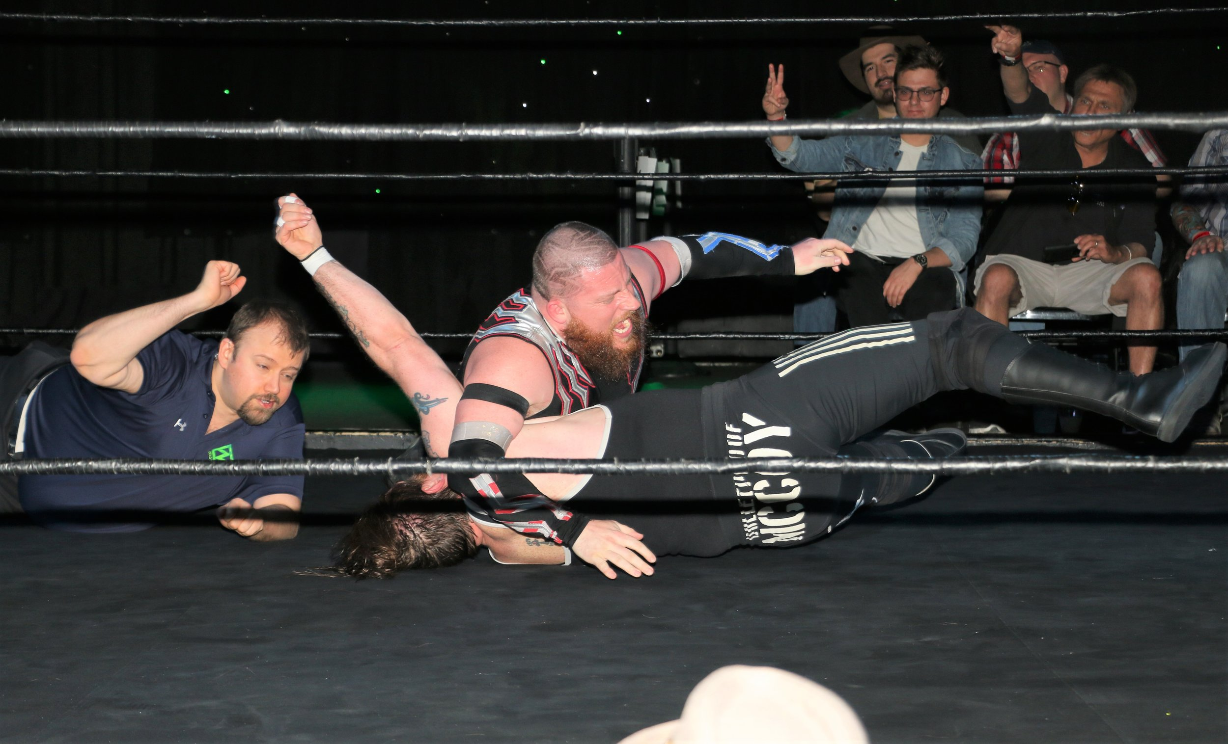 """Bulletproof"" Ben McCoy kicks out the pinfall and Gringo Loco can't believe it."