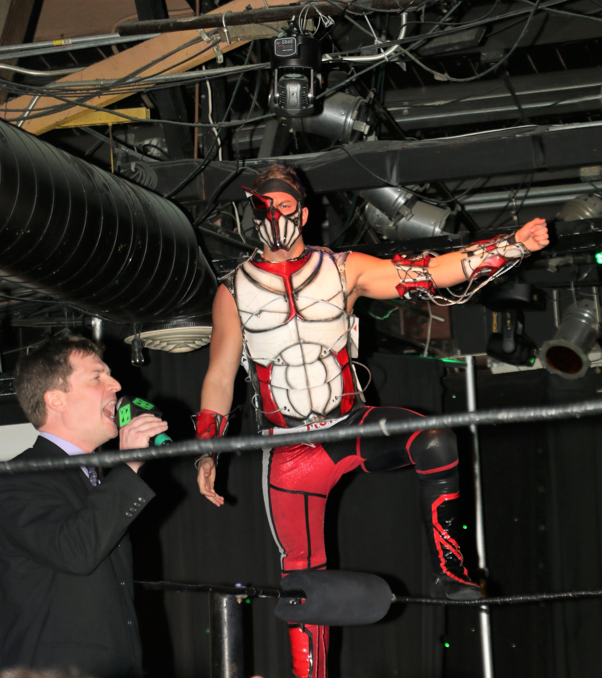 "Pat Monix enters the ring for his ""I Respect You"" match against Simon Grimm."