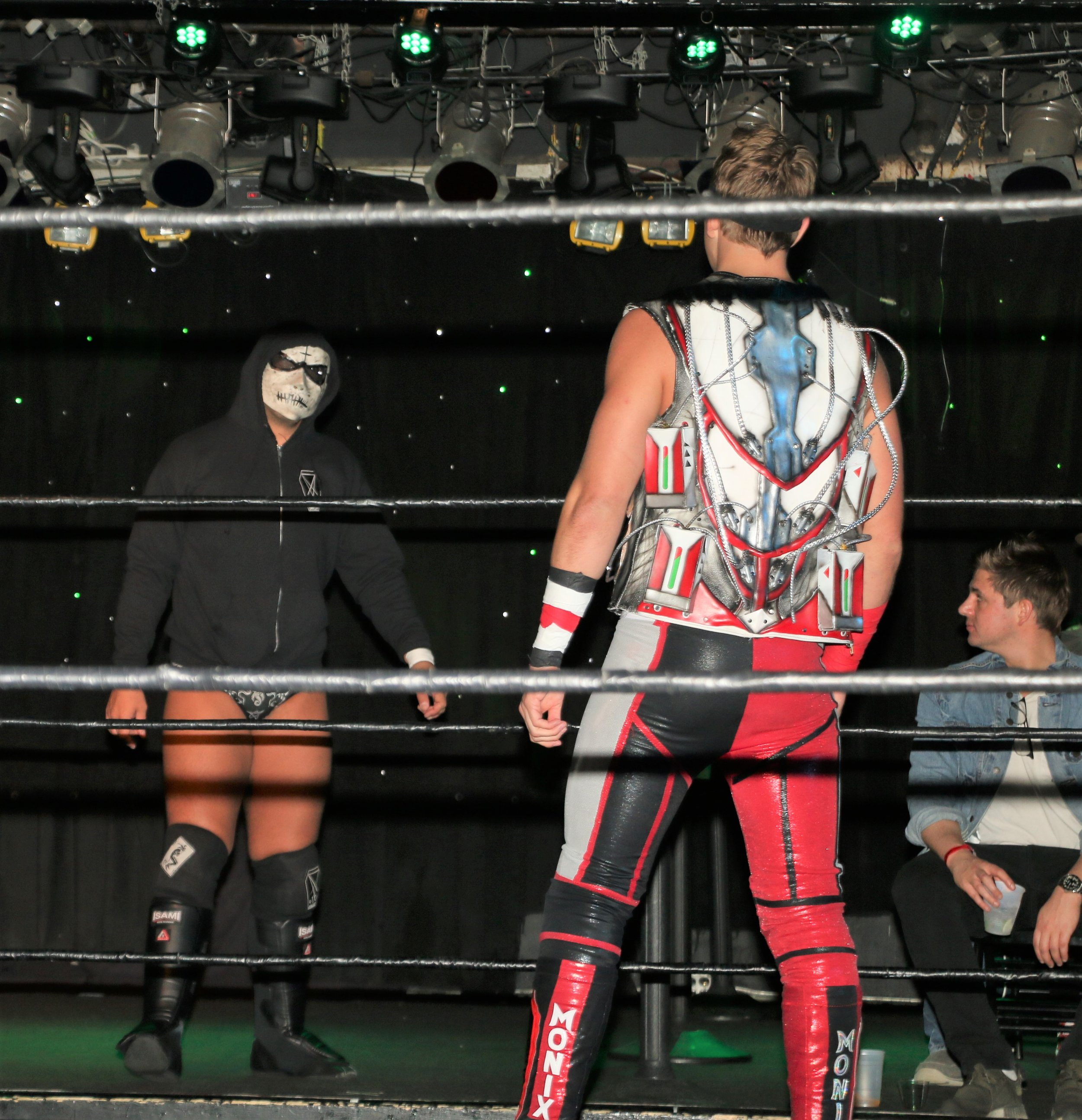 "Simon Grimm, left, enters the ring for his ""I Respect You"" match against Pat Monix."