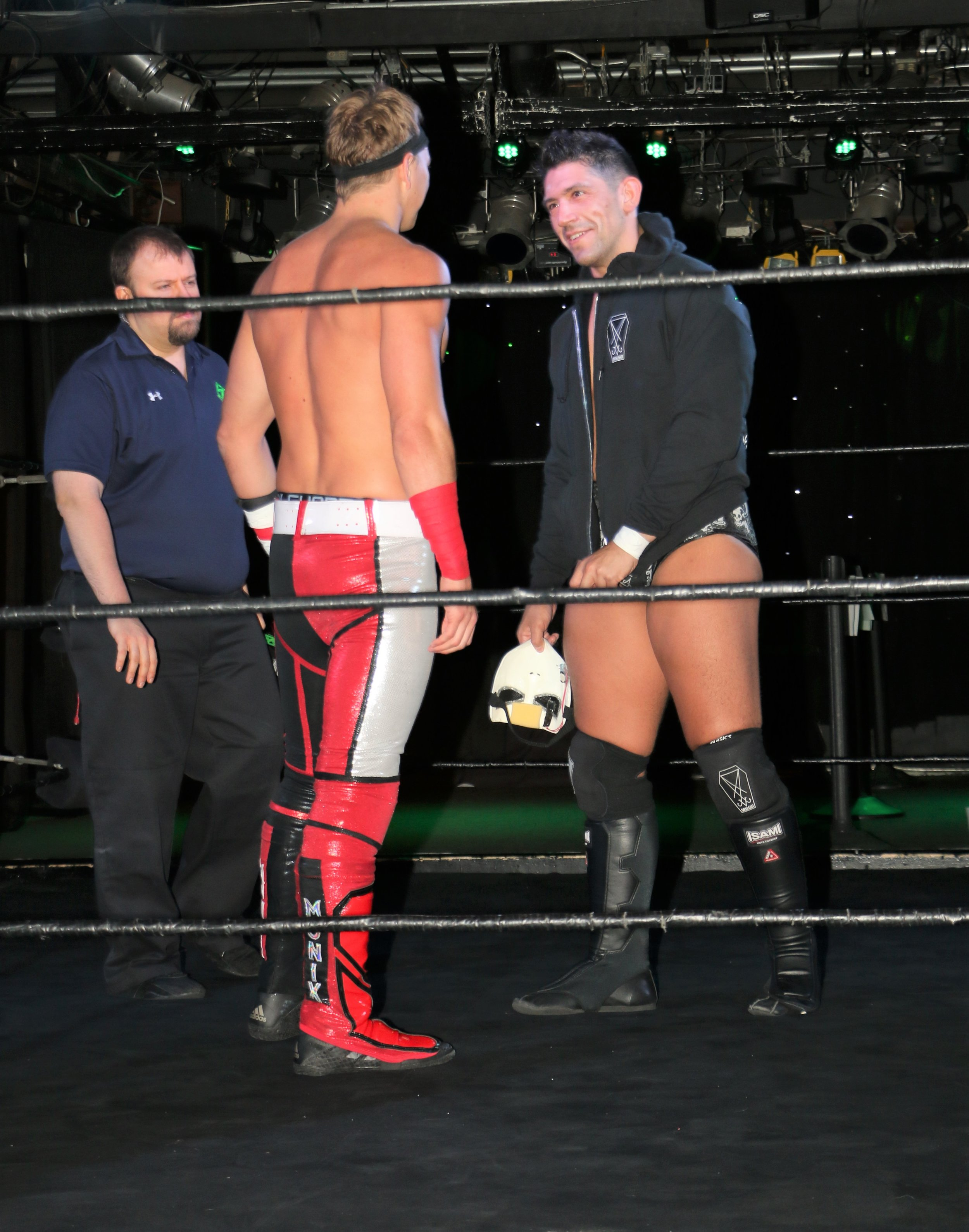 "Pat Monix, left, faces off with Simon Grimm before their ""I Respect You"" match."