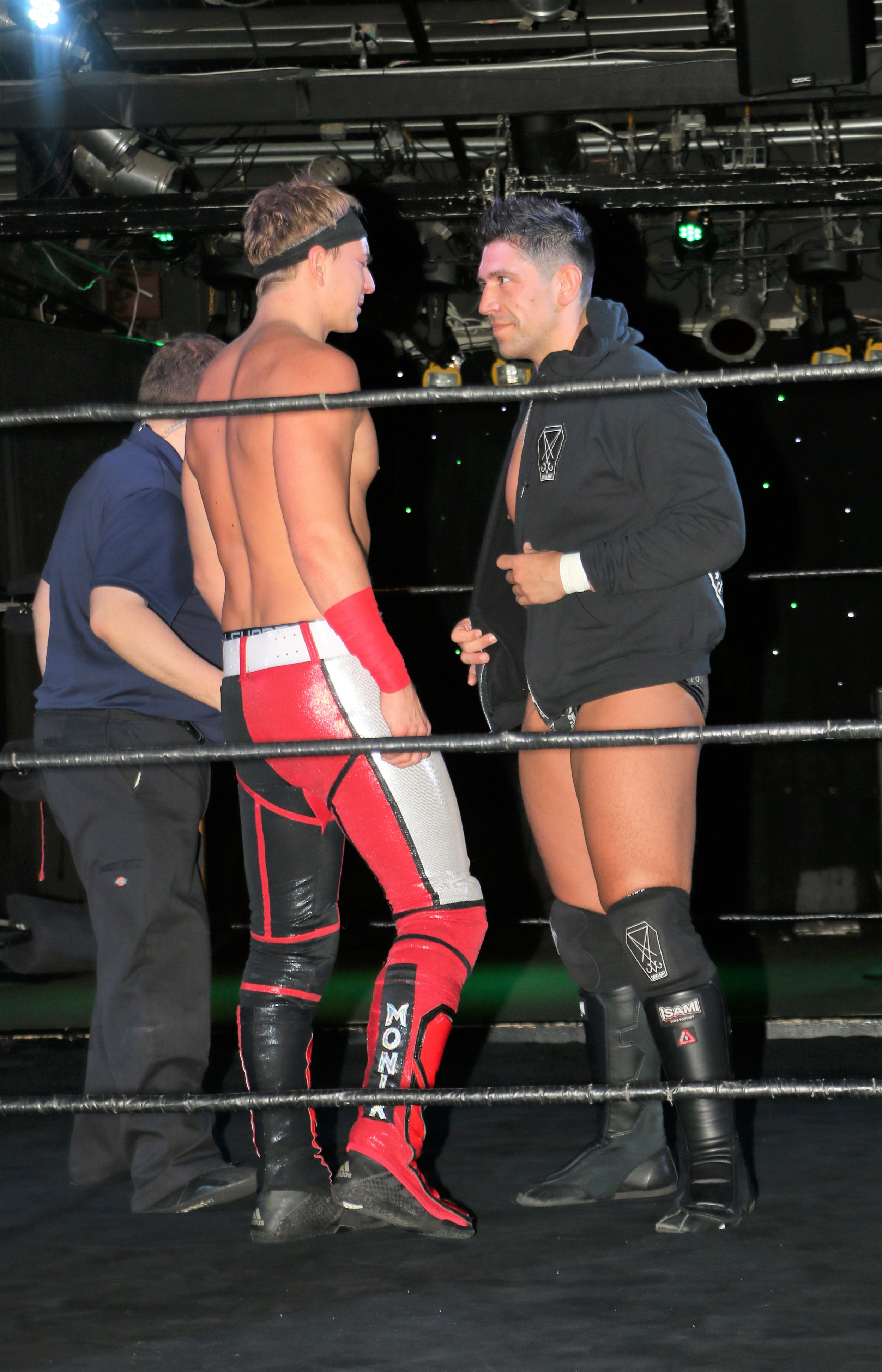 Simon Grimm, right, looks into the eyes of his rival Pat Monix.