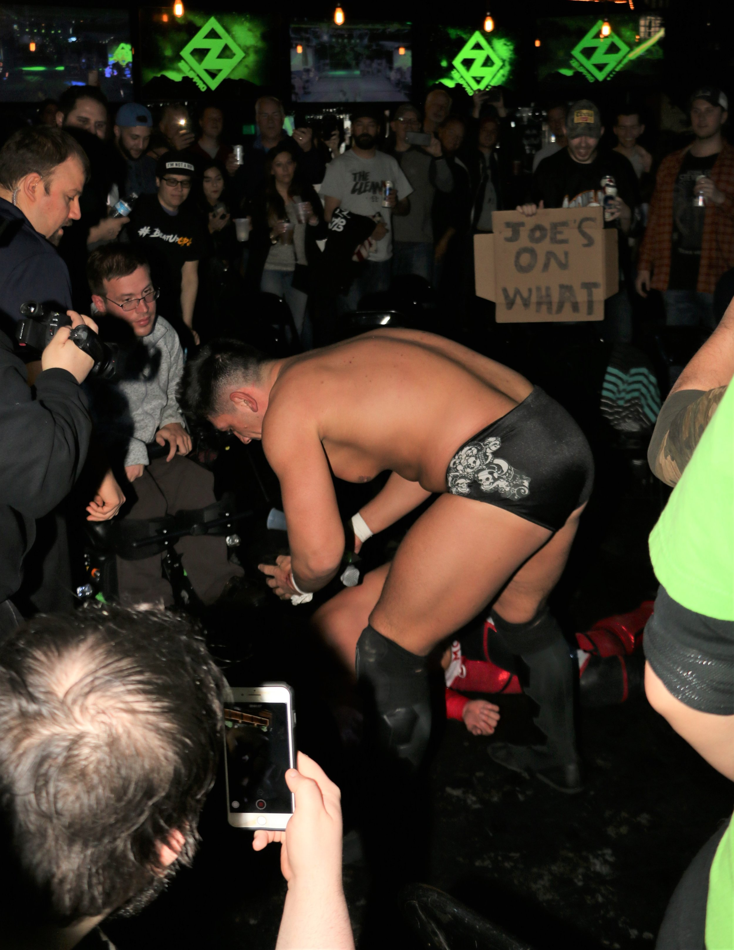 "Simon Grimm attacks Pat Monix in the crowd during the ""I Respect You"" match."