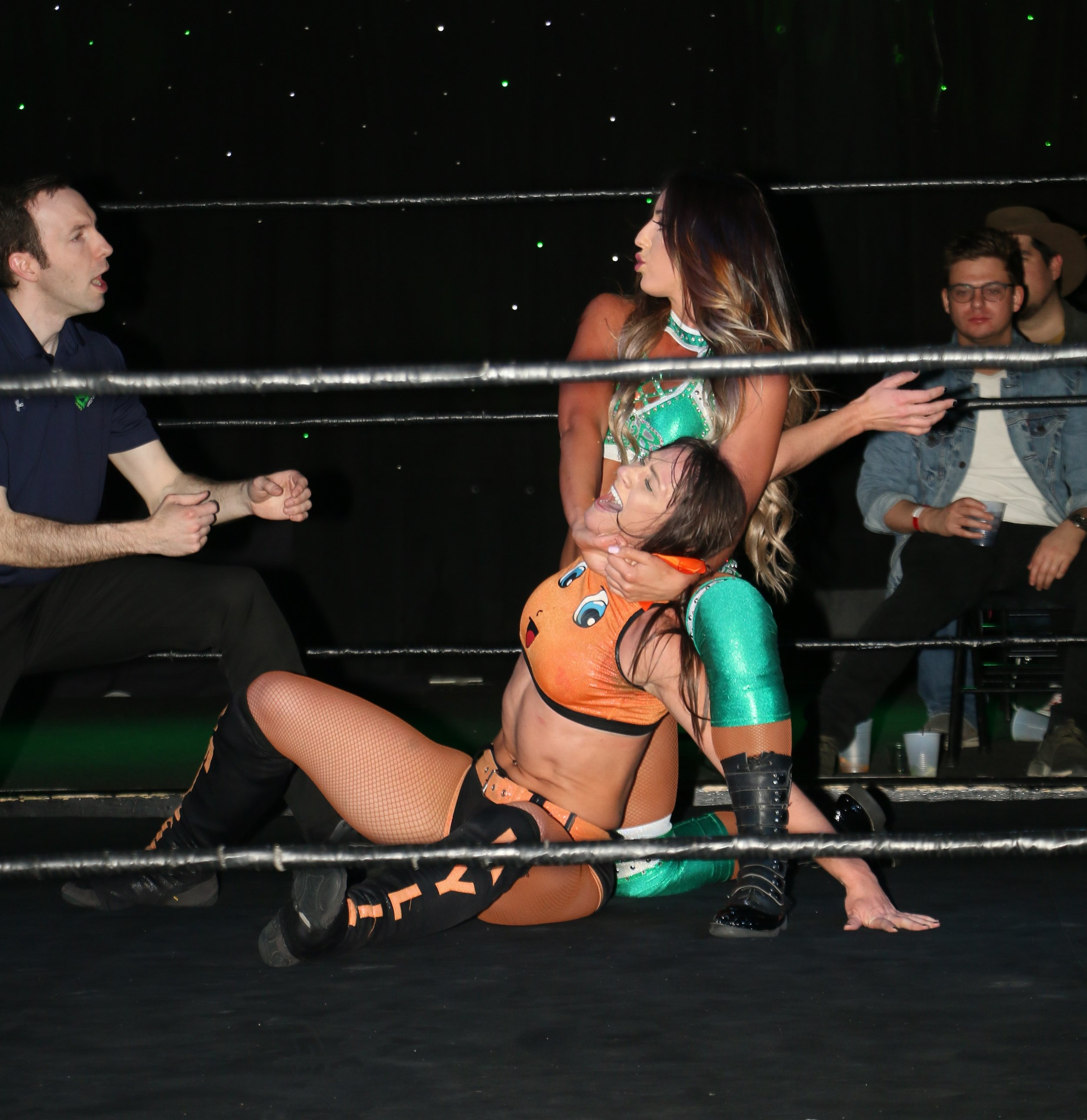 Britt Baker wrenches back on Kylie Rae during their Zelo Pro Women's Championship match.