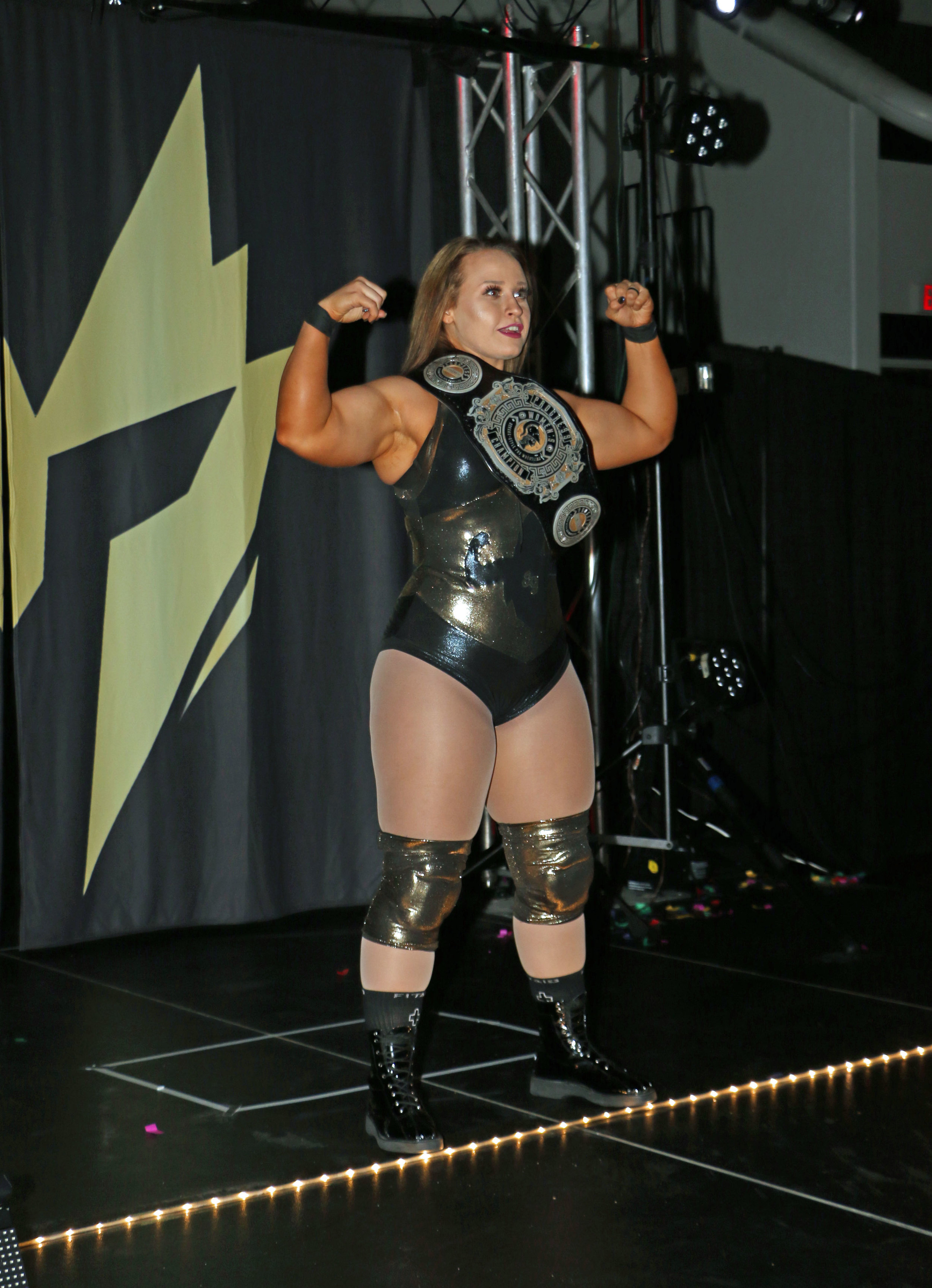 Jordynne Grace, pictured, faces Tessa Blanchard in match to crown Warrior Wrestling's first women's champion during Sunday's Warrior Wrestling 5 show in Chicago Heights, Ill.  (Photo by Mike Pankow)