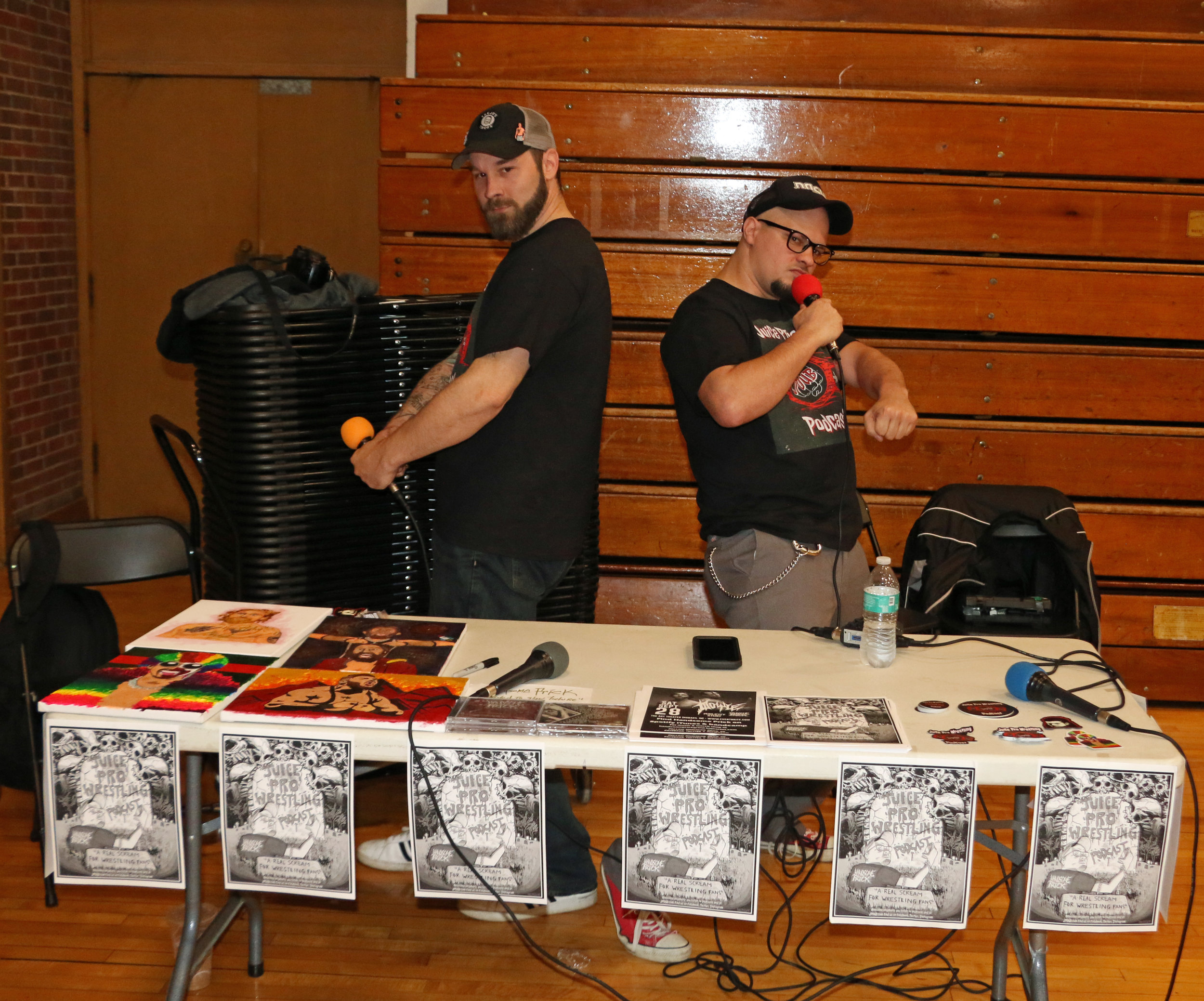 J.R. and Juice have some fun while hosting the Juice Pro Wrestling Podcast during the Warrior Wrestling 5 VIP Fan Fest.