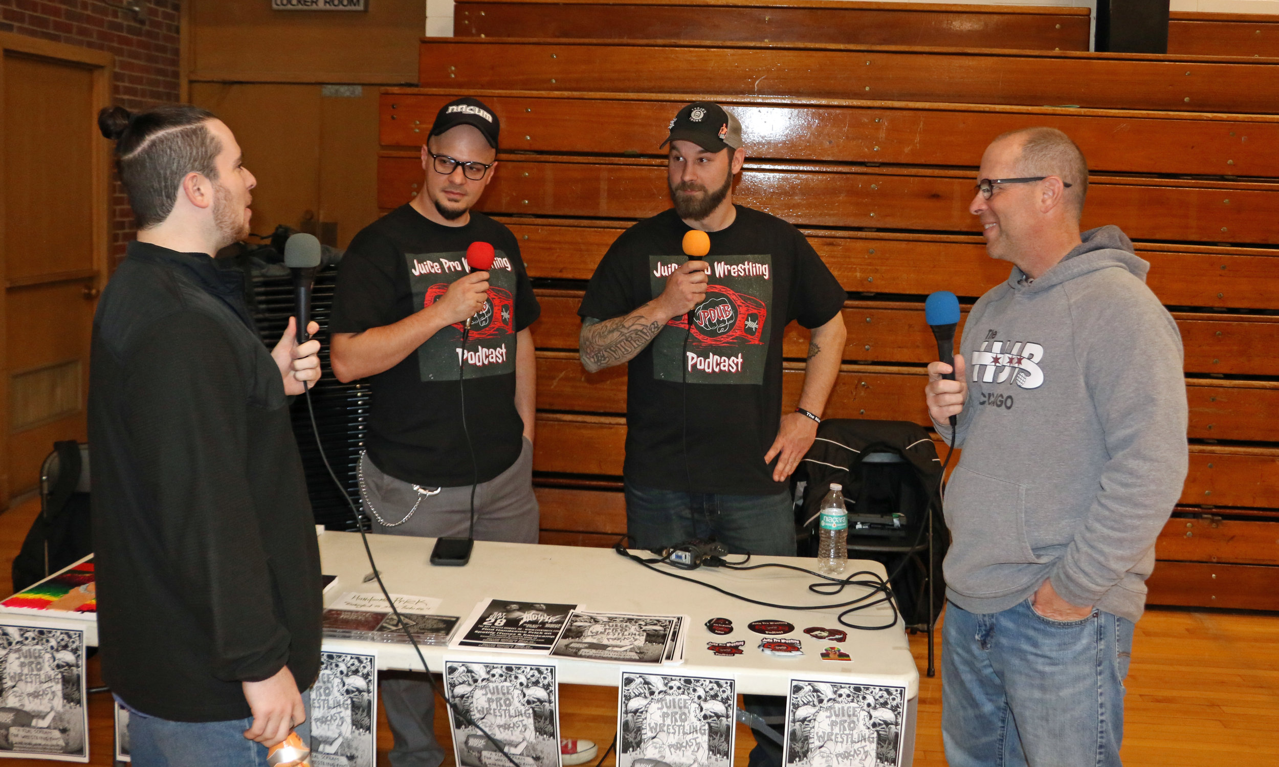 Interaction at the Juice Pro Wrestling Podcast during the Warrior Wrestling 5 VIP Fan Fest.