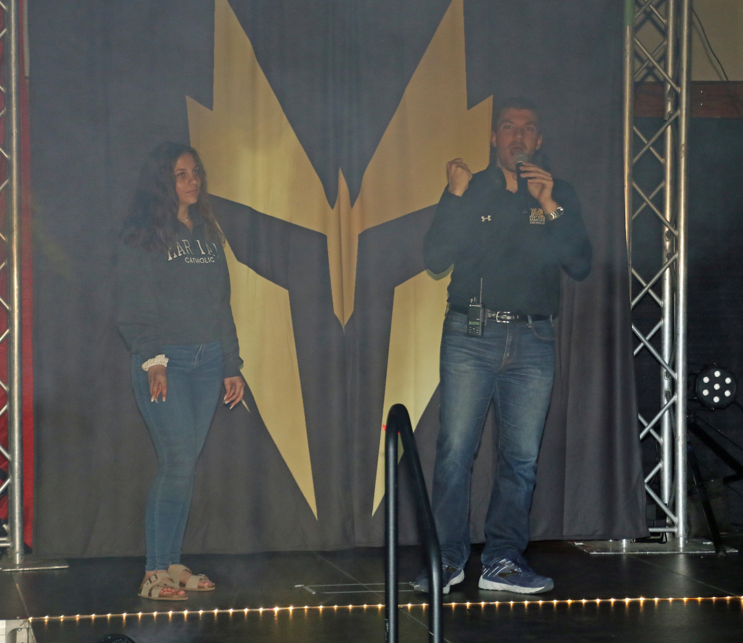 Warrior Wrestling promoter Steve Tortorello, right, introduces the show.