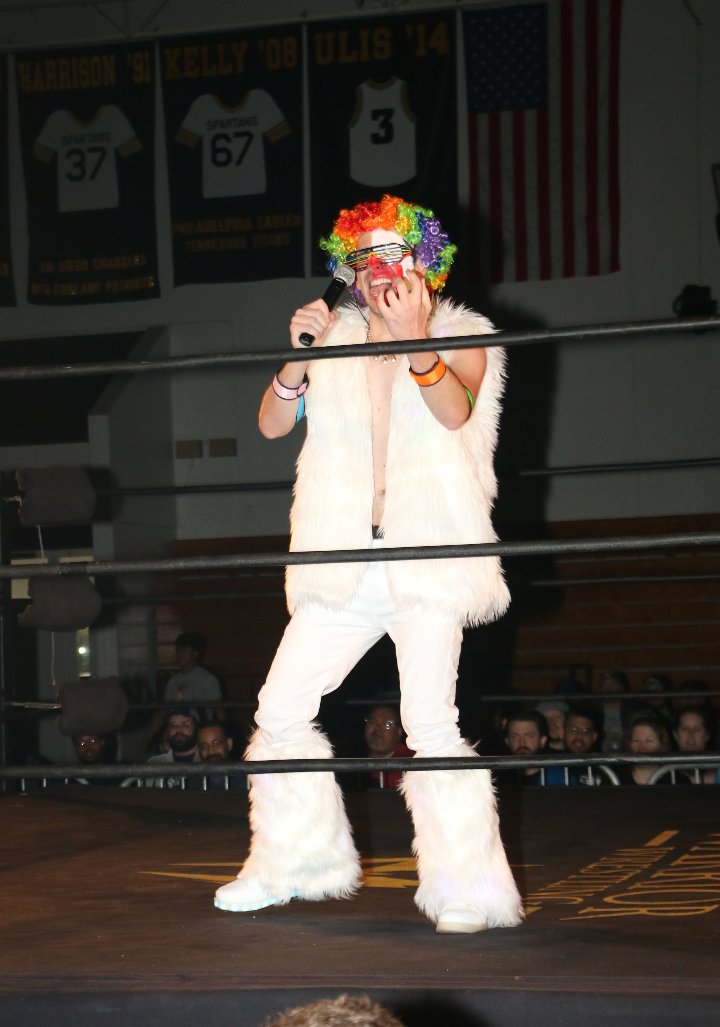 "Frank the Clown gets ready to introduce his man, Robert ""Ego"" Anthony."