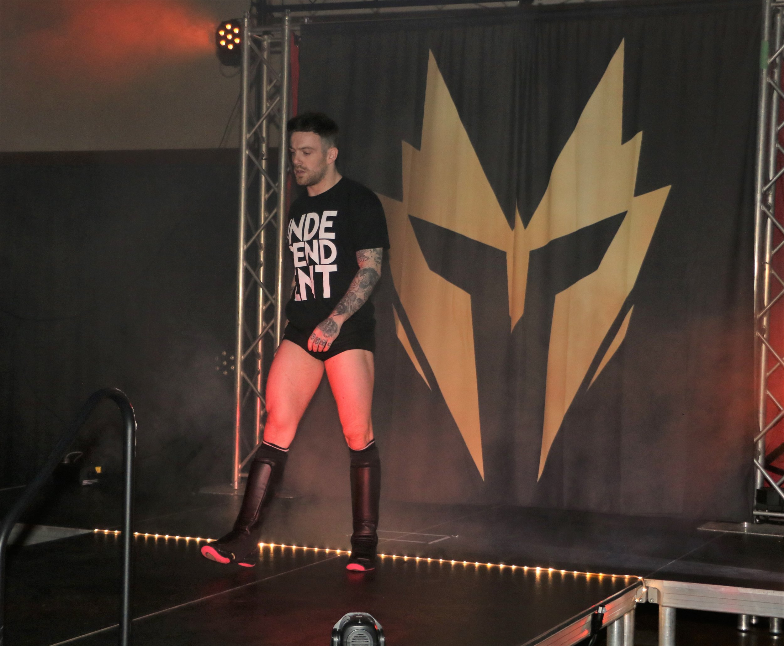 Chris Ridgeway enters the arena for his match against Tom Lawlor.