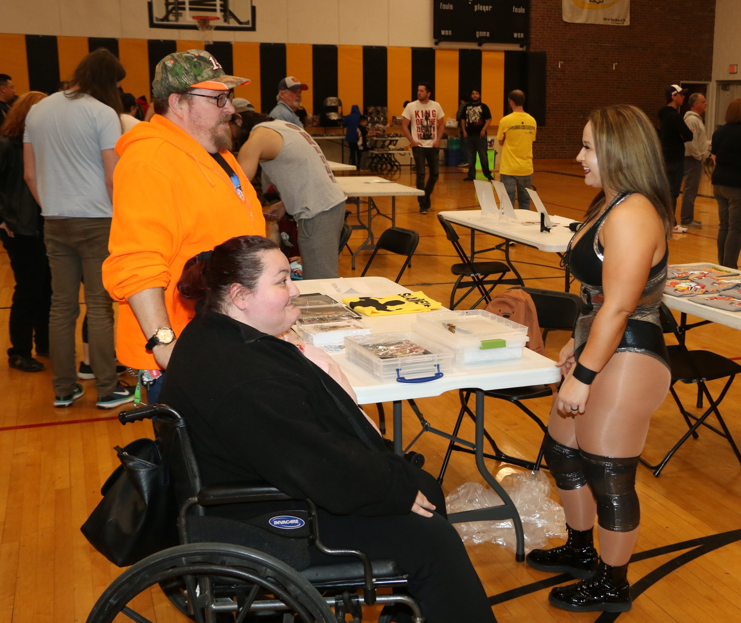 Jordynne Grace, right, talks to fans during intermission.