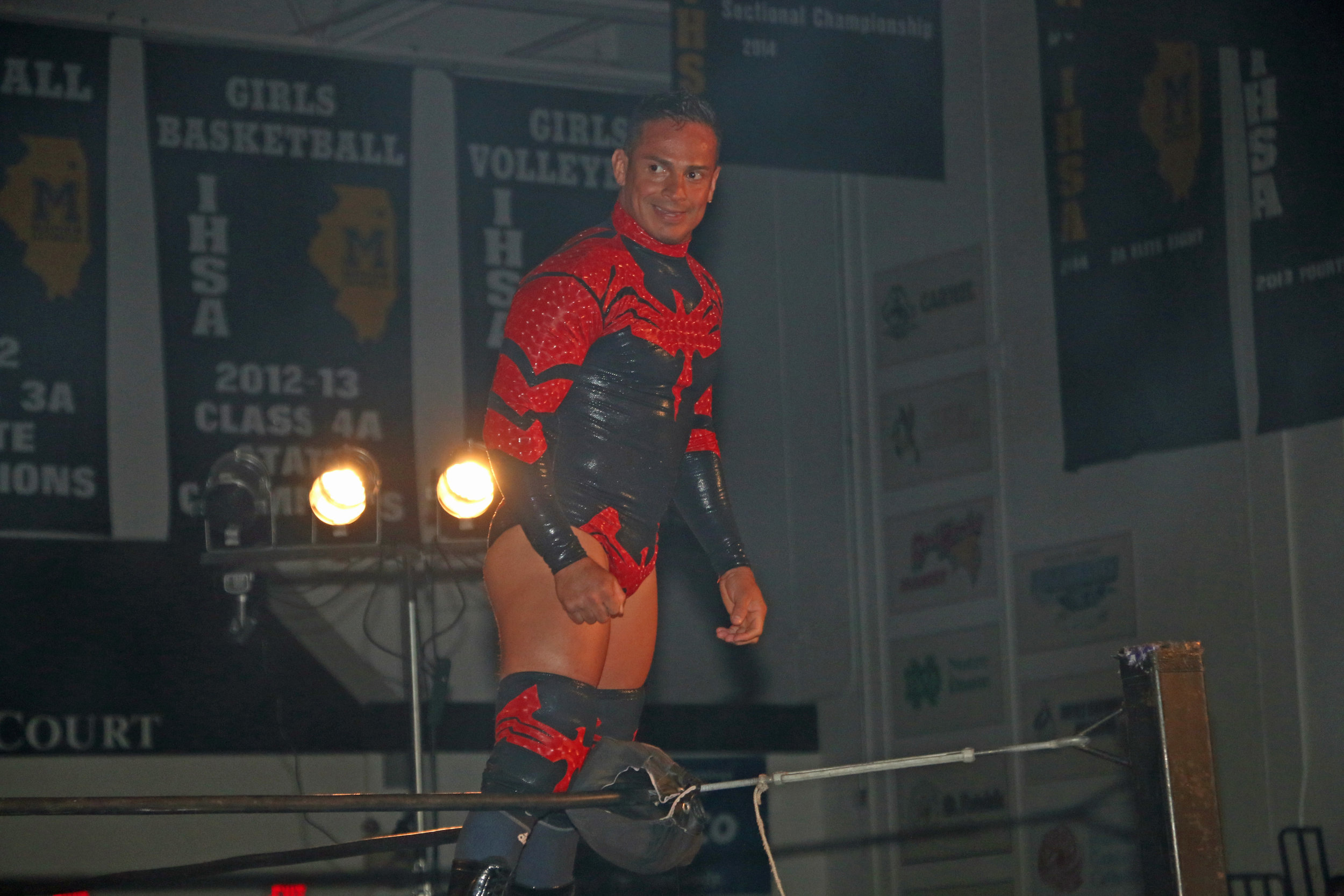 Volador Jr. poses on the ropes before his match against Gringo Loco.