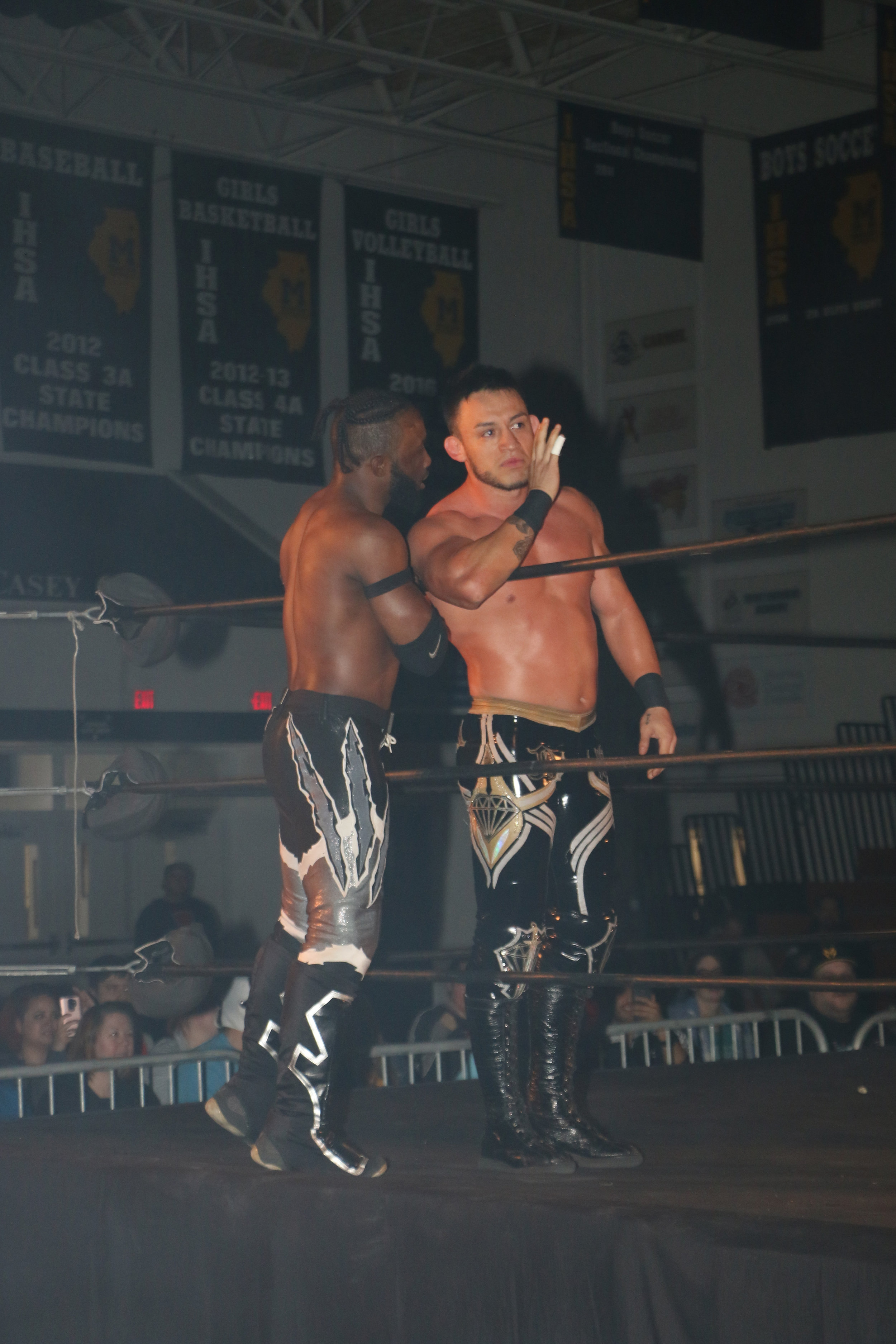 Kotto Brazil, left, and Daga before the tag team match against the Lucha Bros.