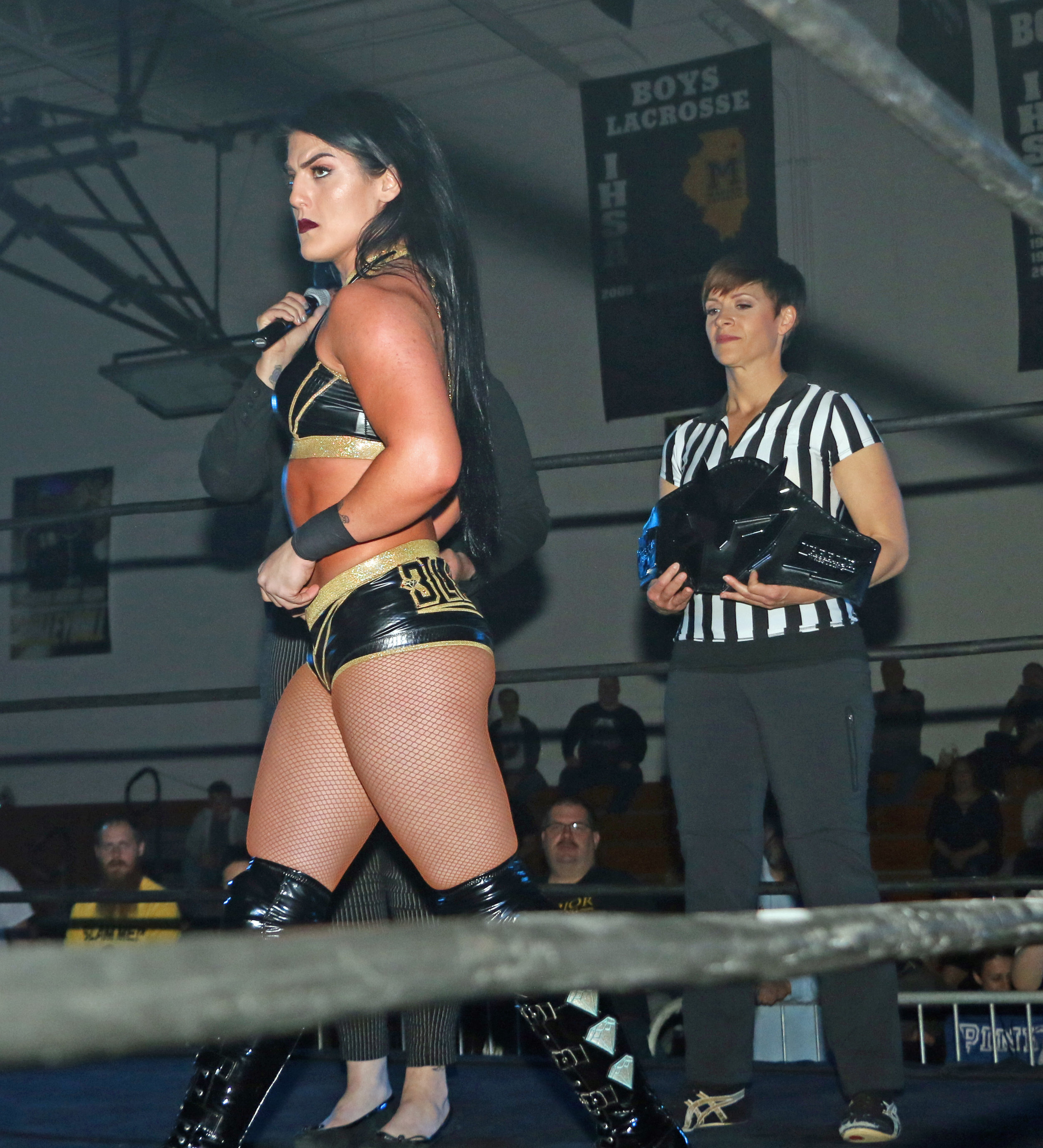 Tessa Blanchard is ready for the main event as special referee Molly Holly holds the Warrior Wrestling Women's Championship.