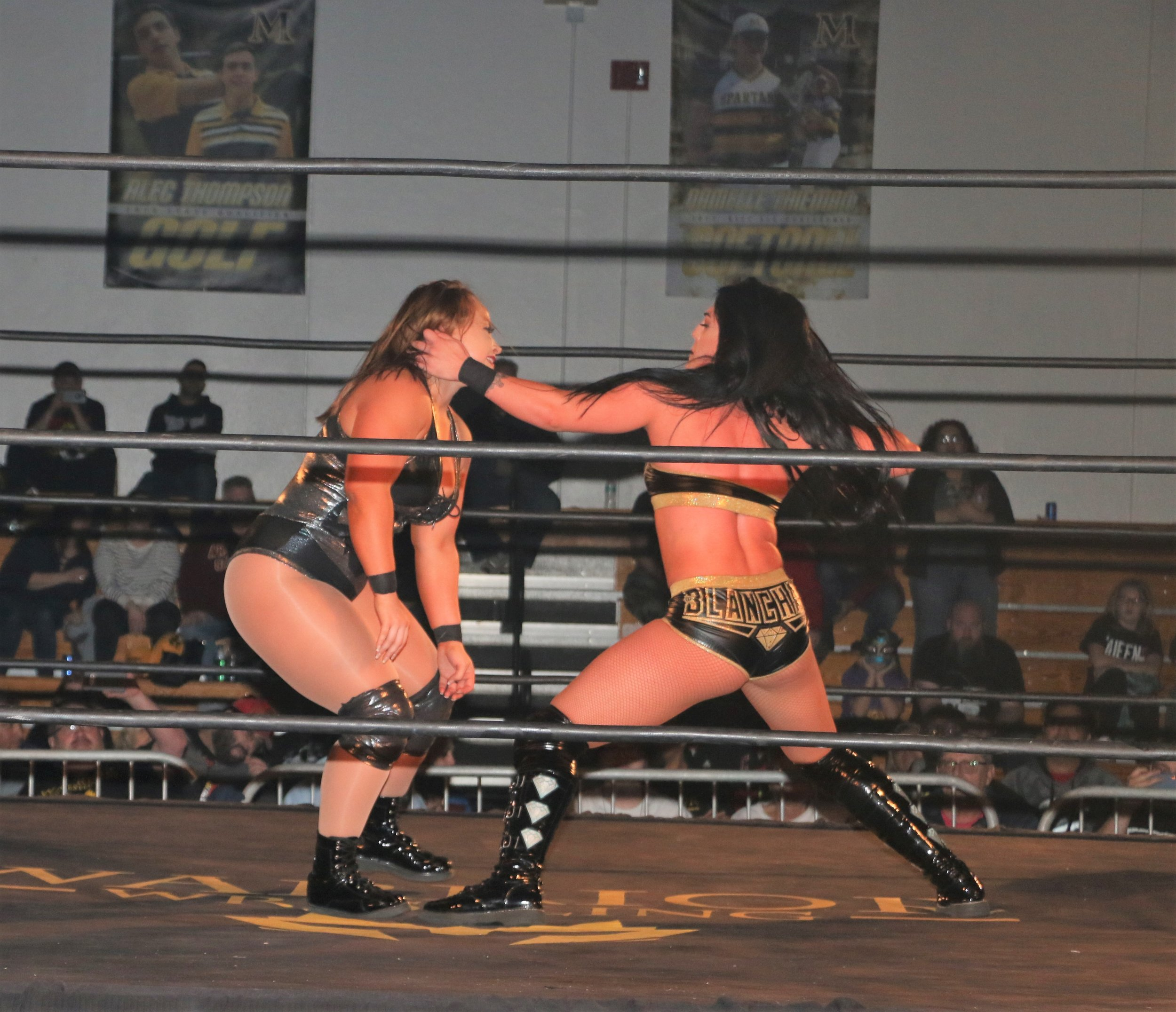 Tessa Blanchard, right, takes a swing at Jordynne Grace during the Warrior Wrestling Women's Championship match.