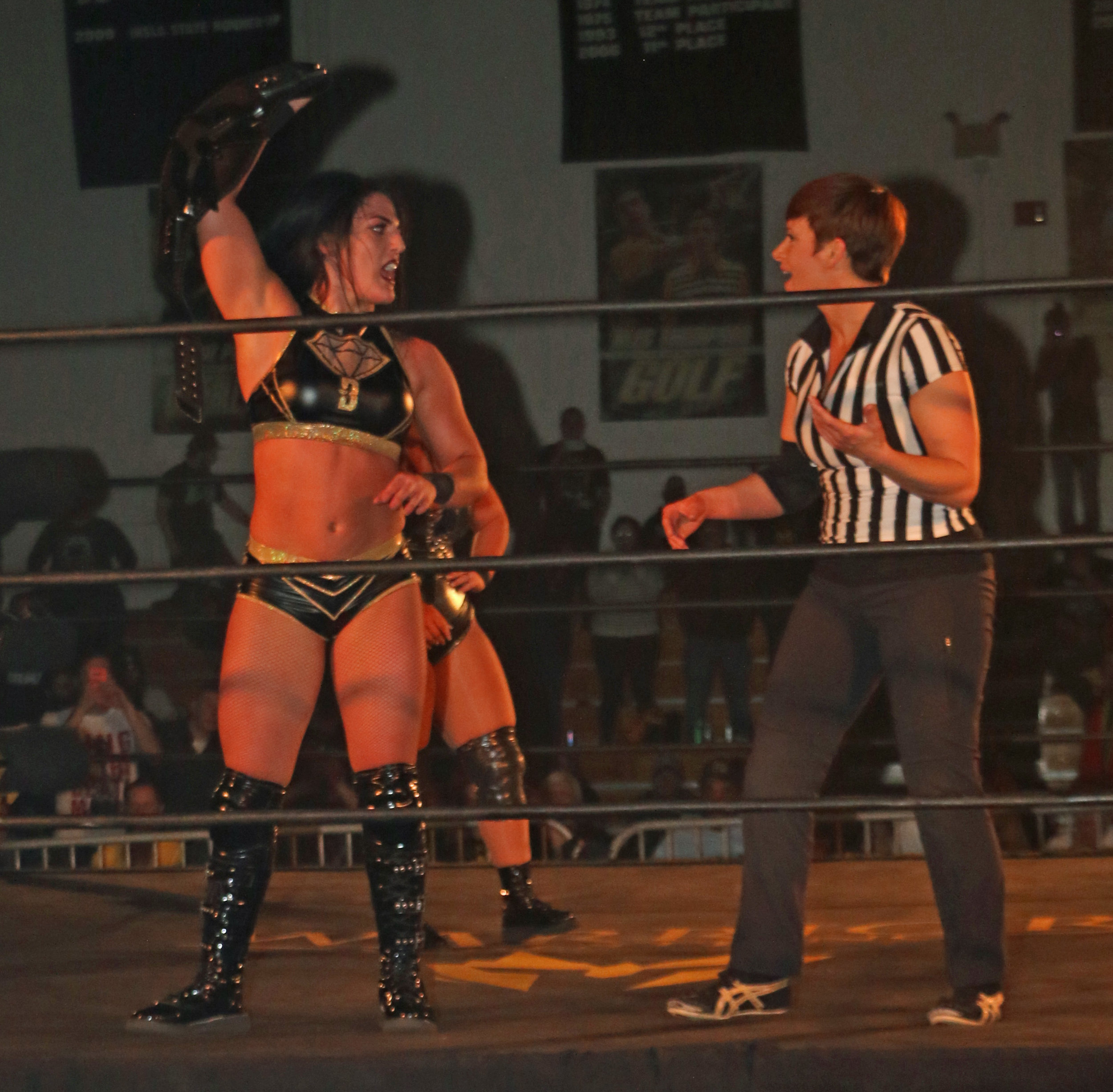 New Warrior Wrestling Women's Champion Tessa Blanchard yells at referee Molly Holly after the match.