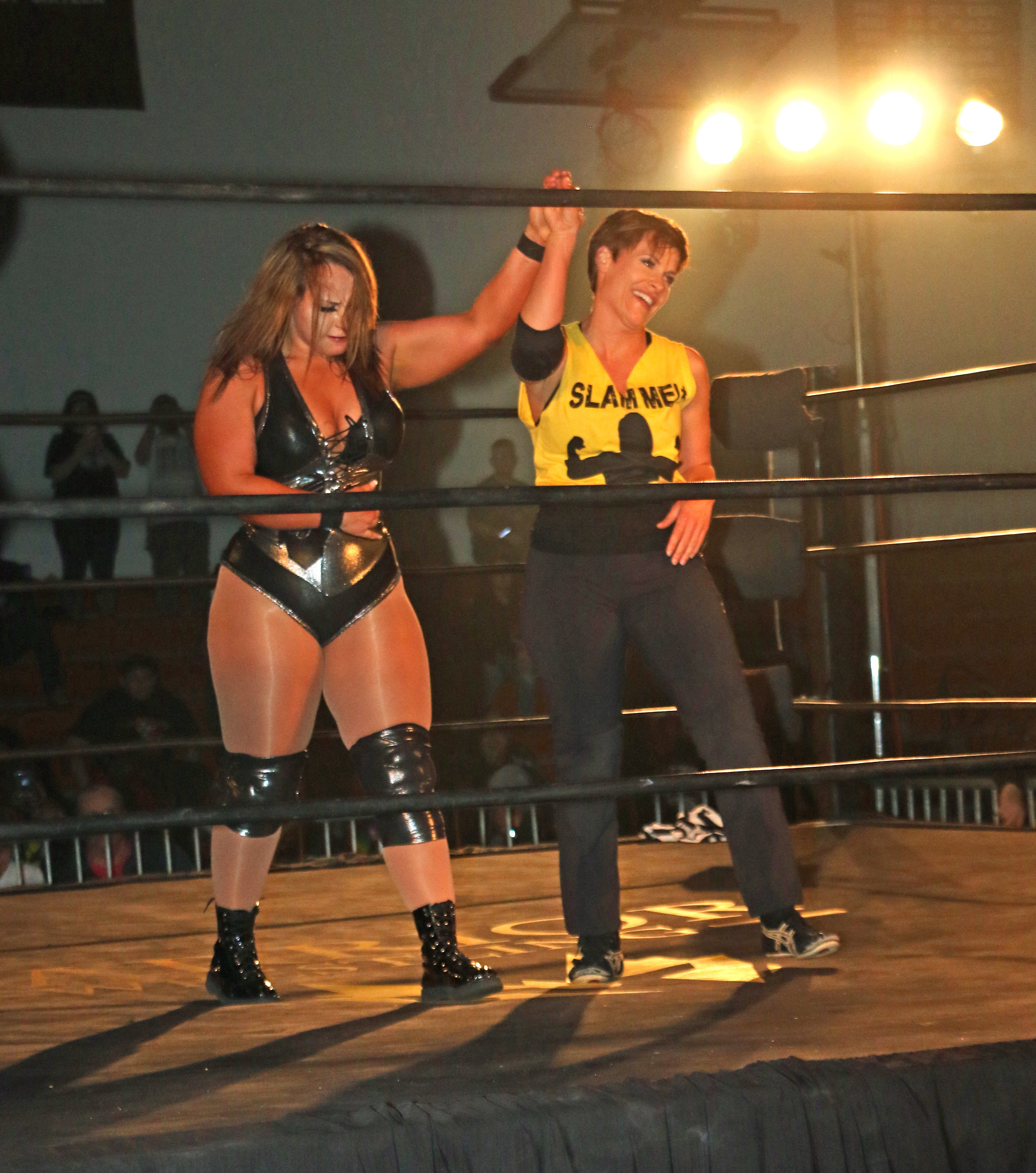 Molly Holly, right, has a moment with Jordynne Grace.