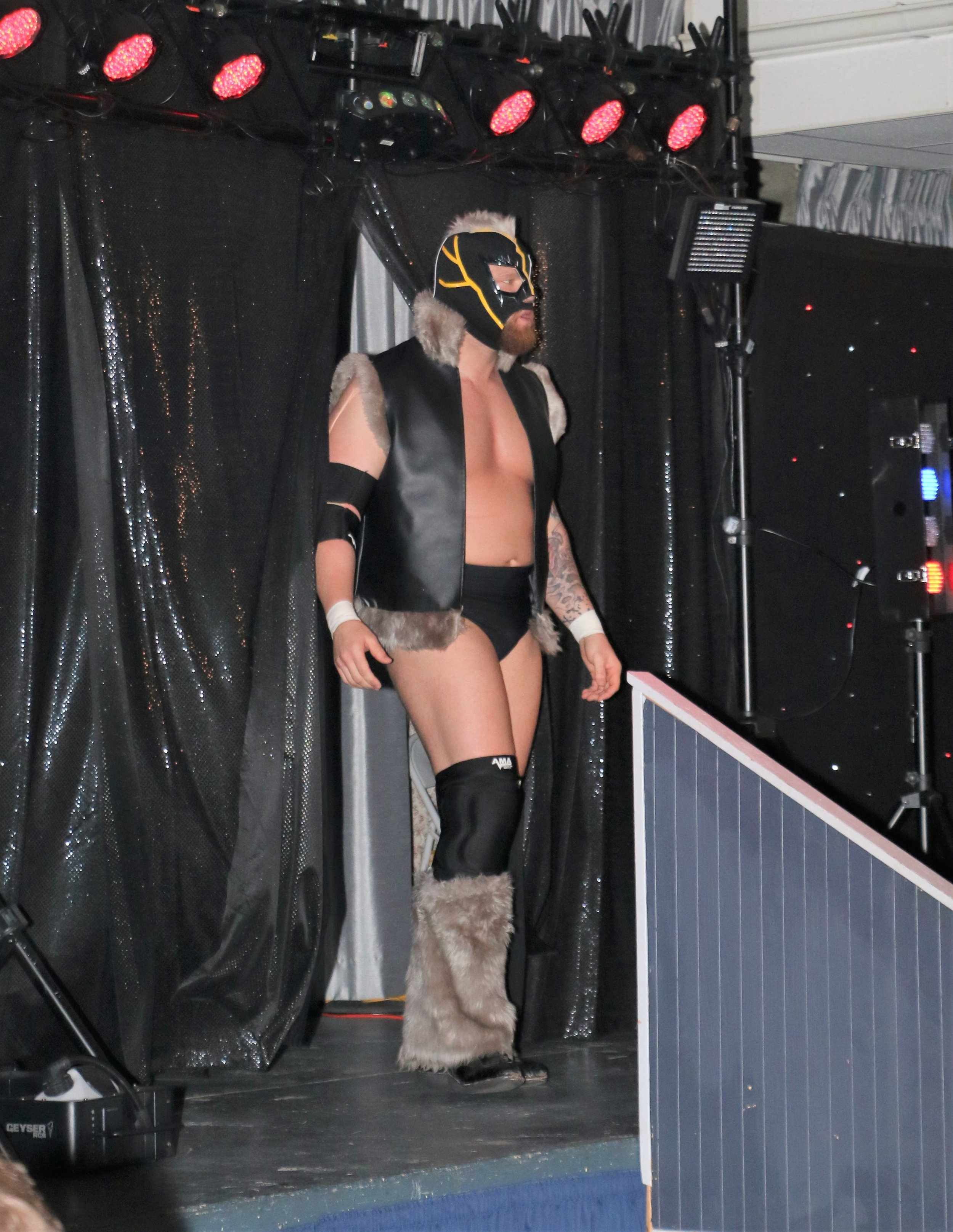 Jay Bradley enters the arena for his match.