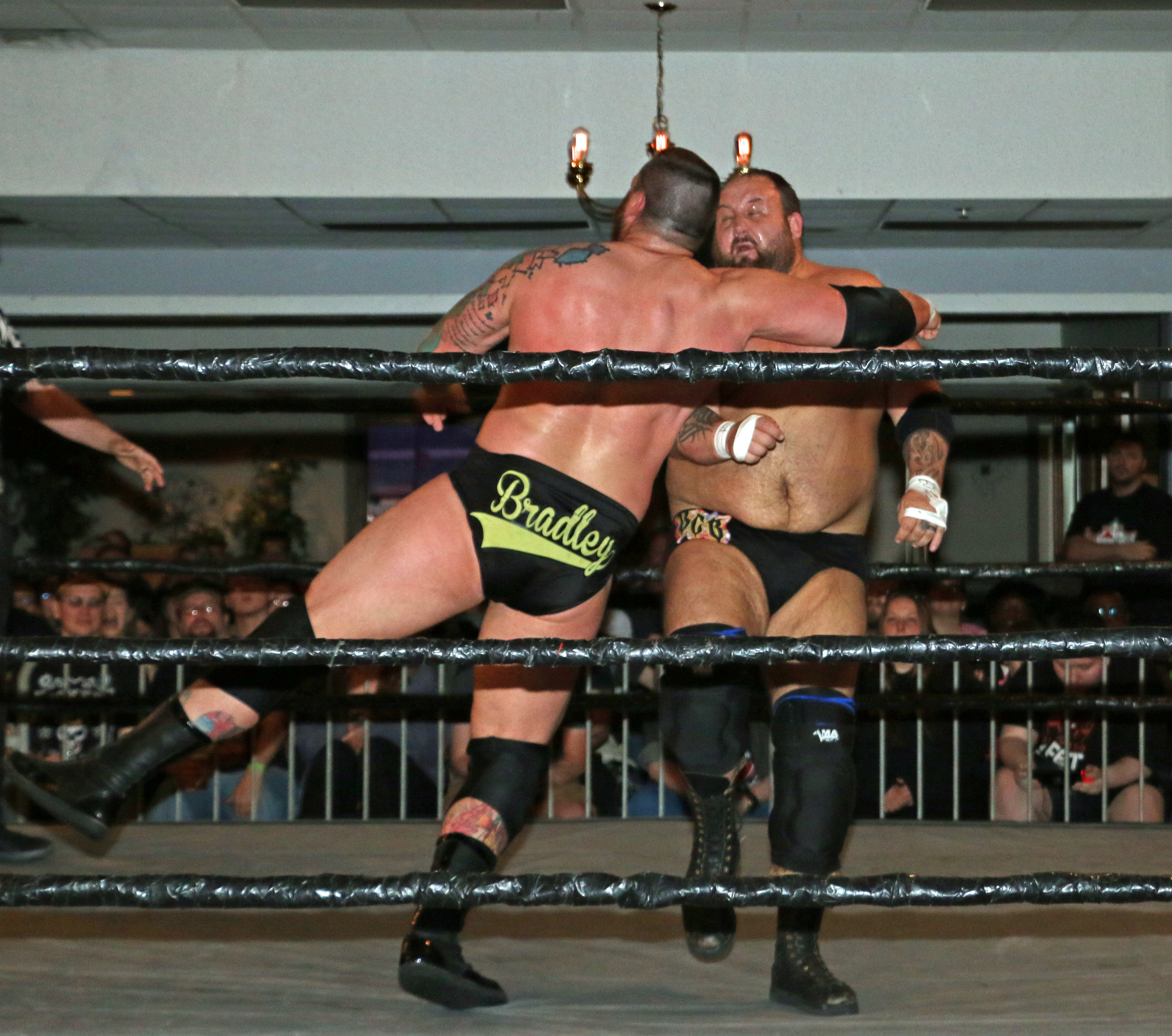 Jay Bradley, right, delivers the Boomstick to Beer City Bruiser, which led to the pinfall victory.
