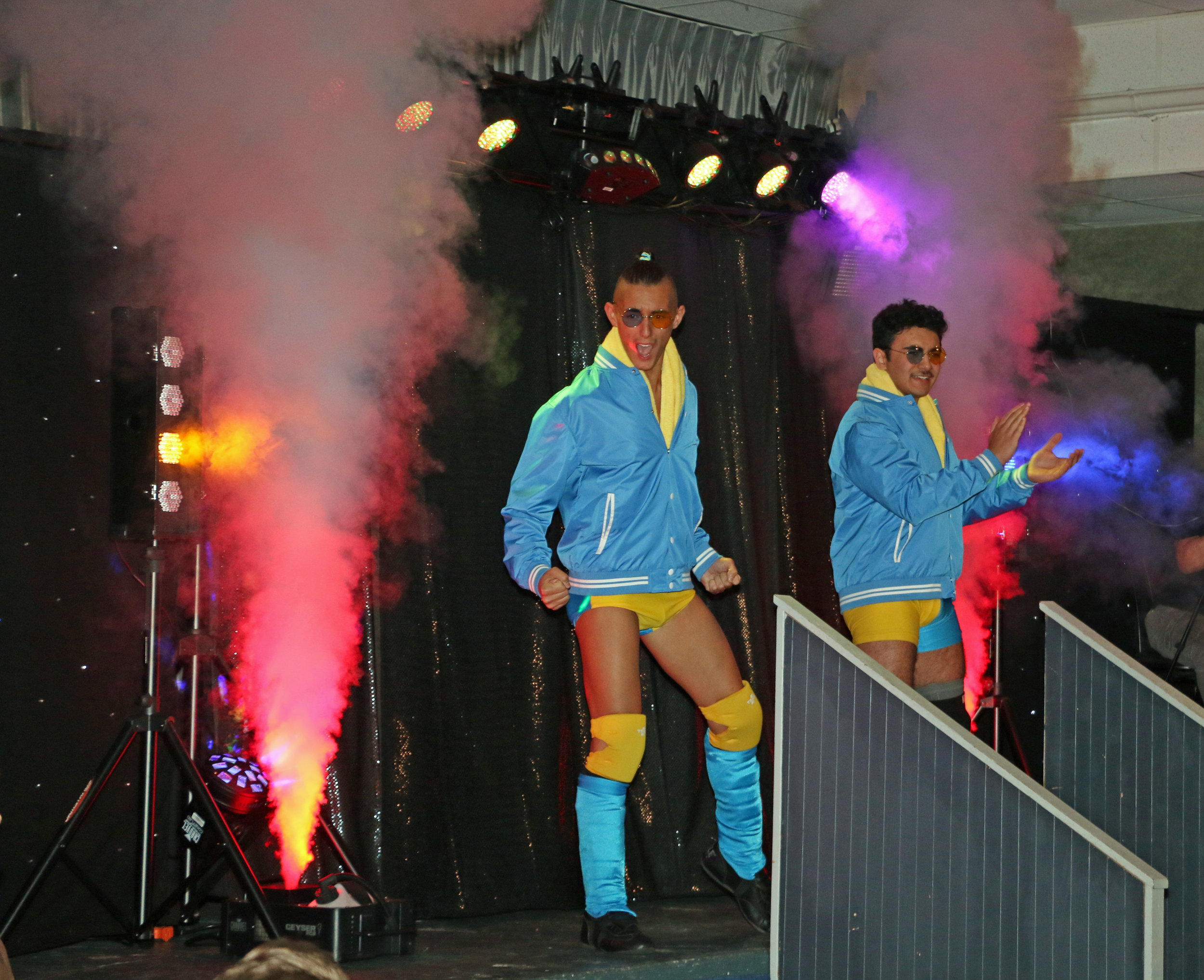 The Princes of the Universe, Jordan Kross, left, and Kal Herro, enter the arena.