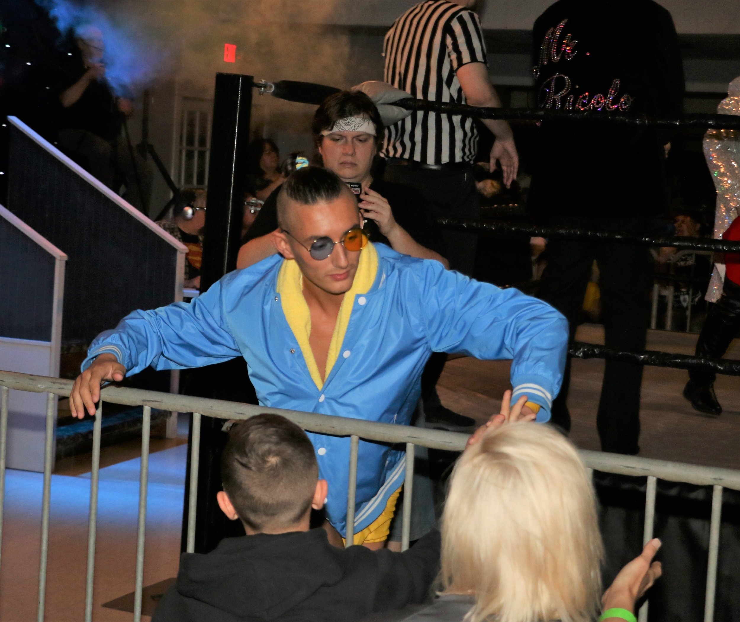 Jordan Kross greets fans around the ring.