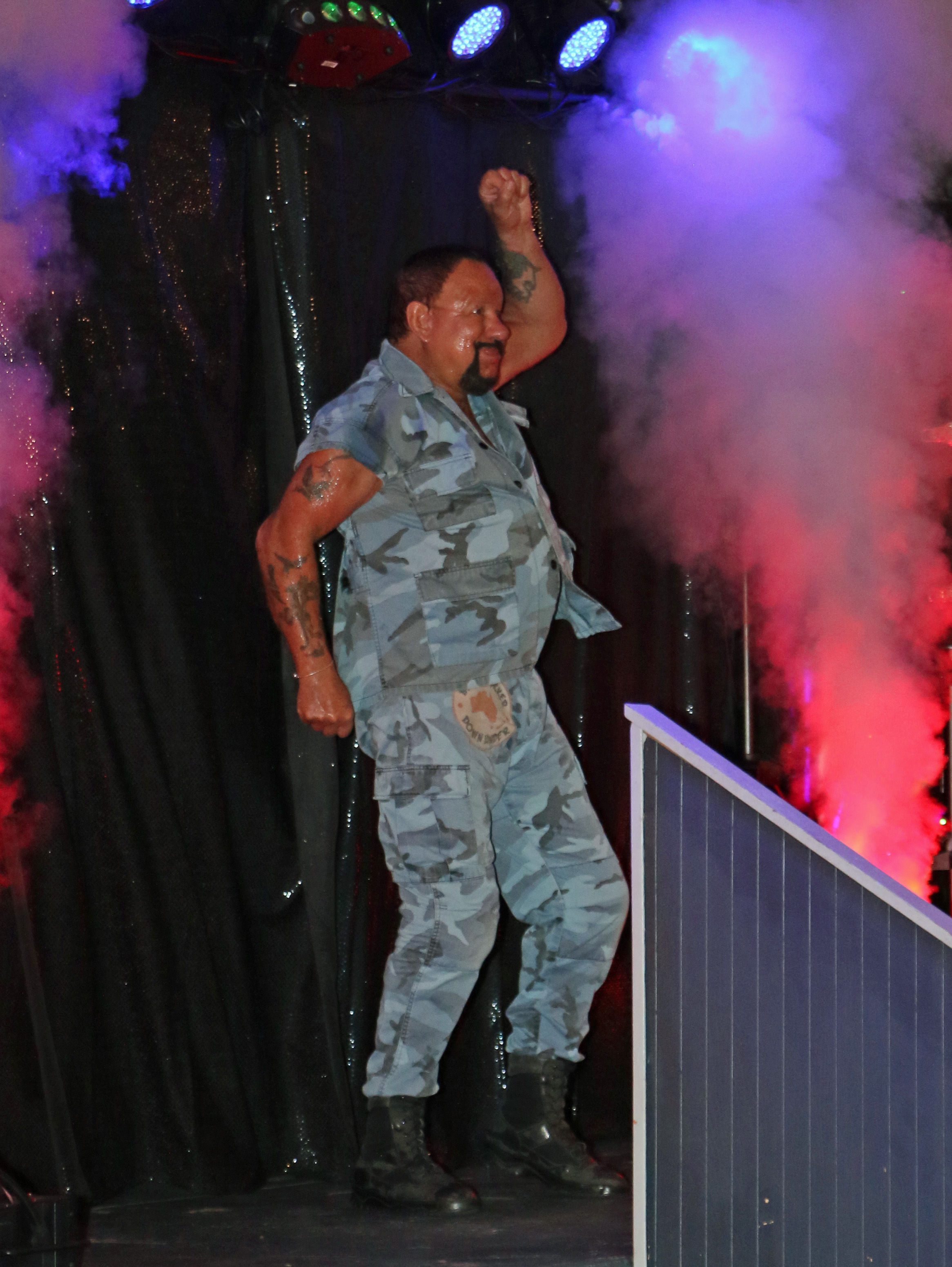 WWE Hall of Famer Bushwhacker Luke enters the arena to be the Princes of the Universe's tag team partner.