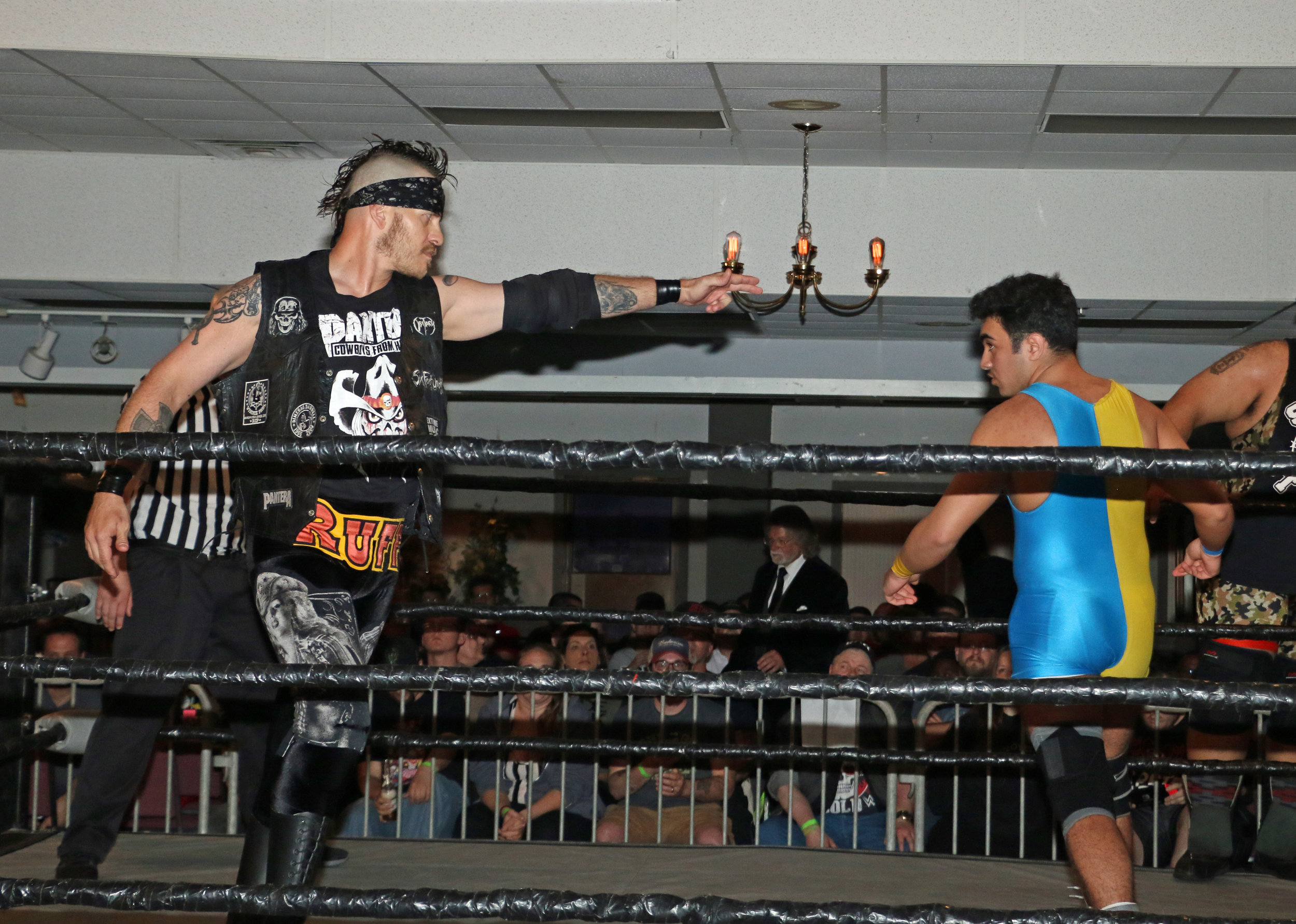 Ruff Crossing points toward Kal Herro during the six-man tag team match.