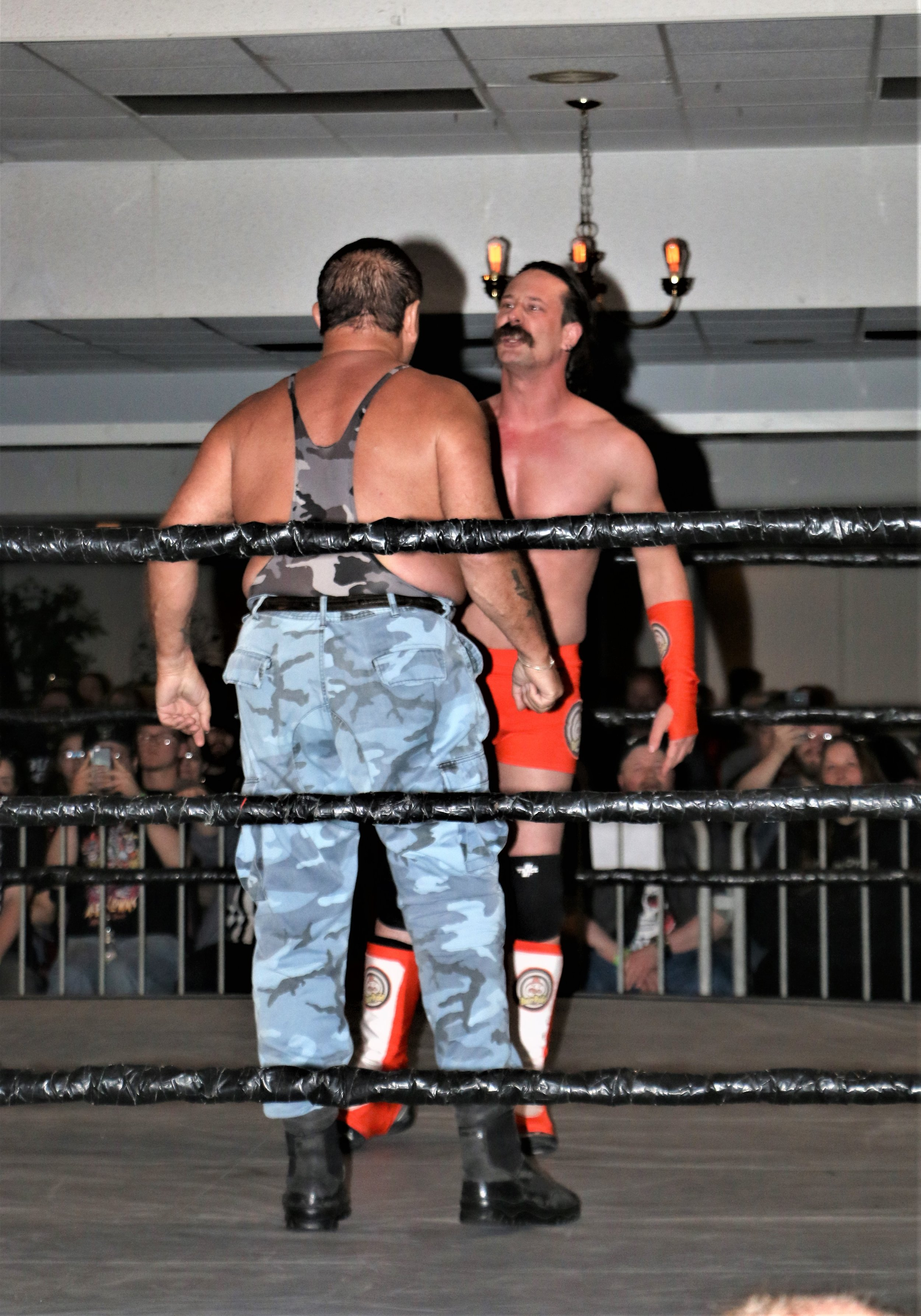 Bushwhacker Luke goes face-to-face with Dave Rydell during the six-man tag team match.