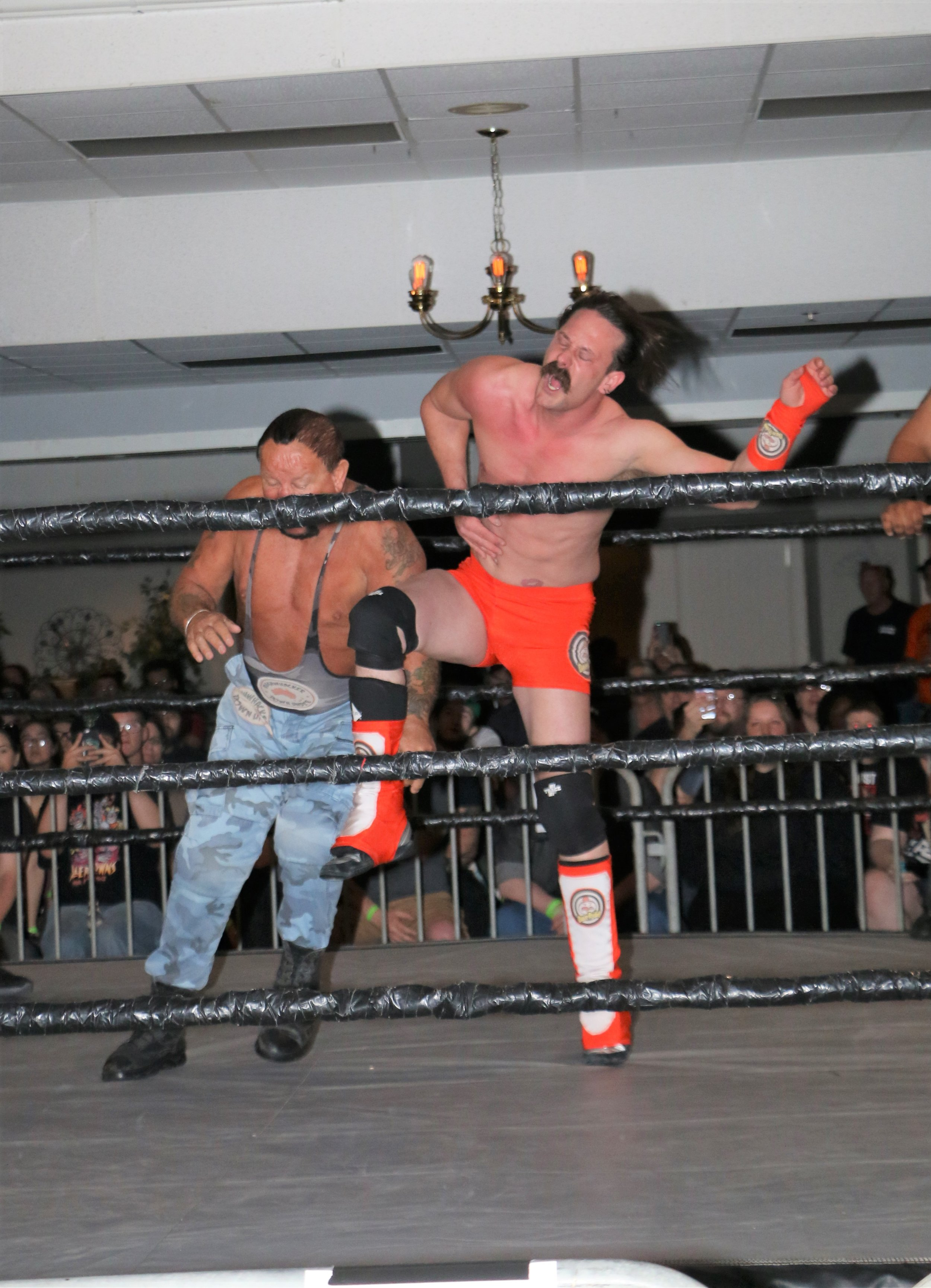 Bushwhacker Luke, left, and Dave Rydell sqaure off during the six-man tag team match.