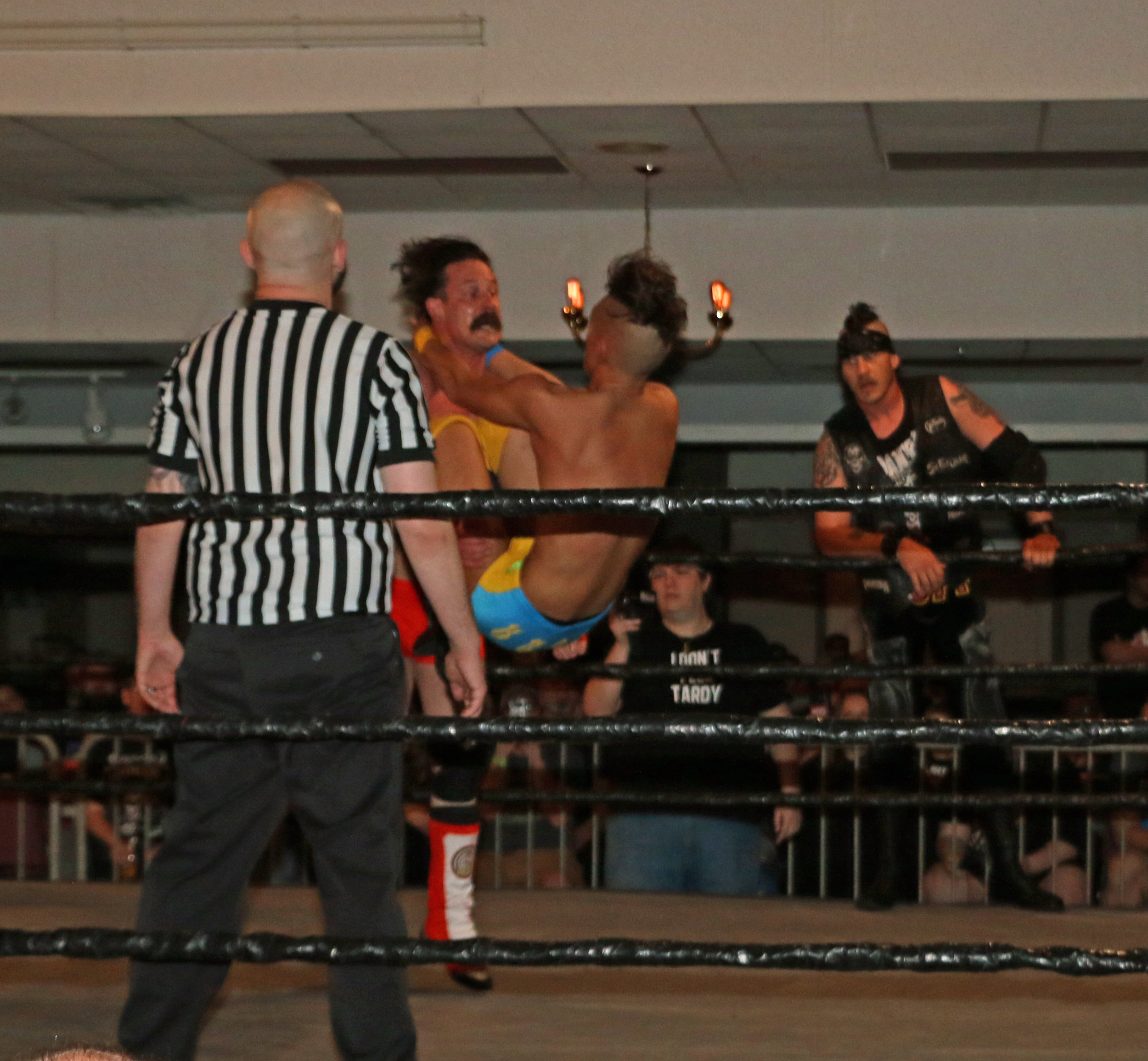 Jordan Kross hits the Codebreaker on Dave Rydell during the six-man tag team match.