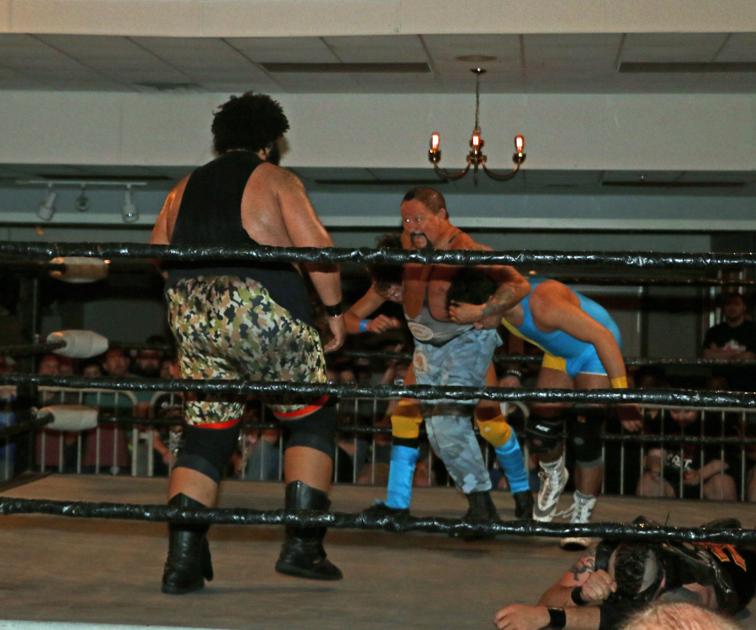 Bushwhacker Luke looks to deliver a double battering ram to Backwoods Brown.