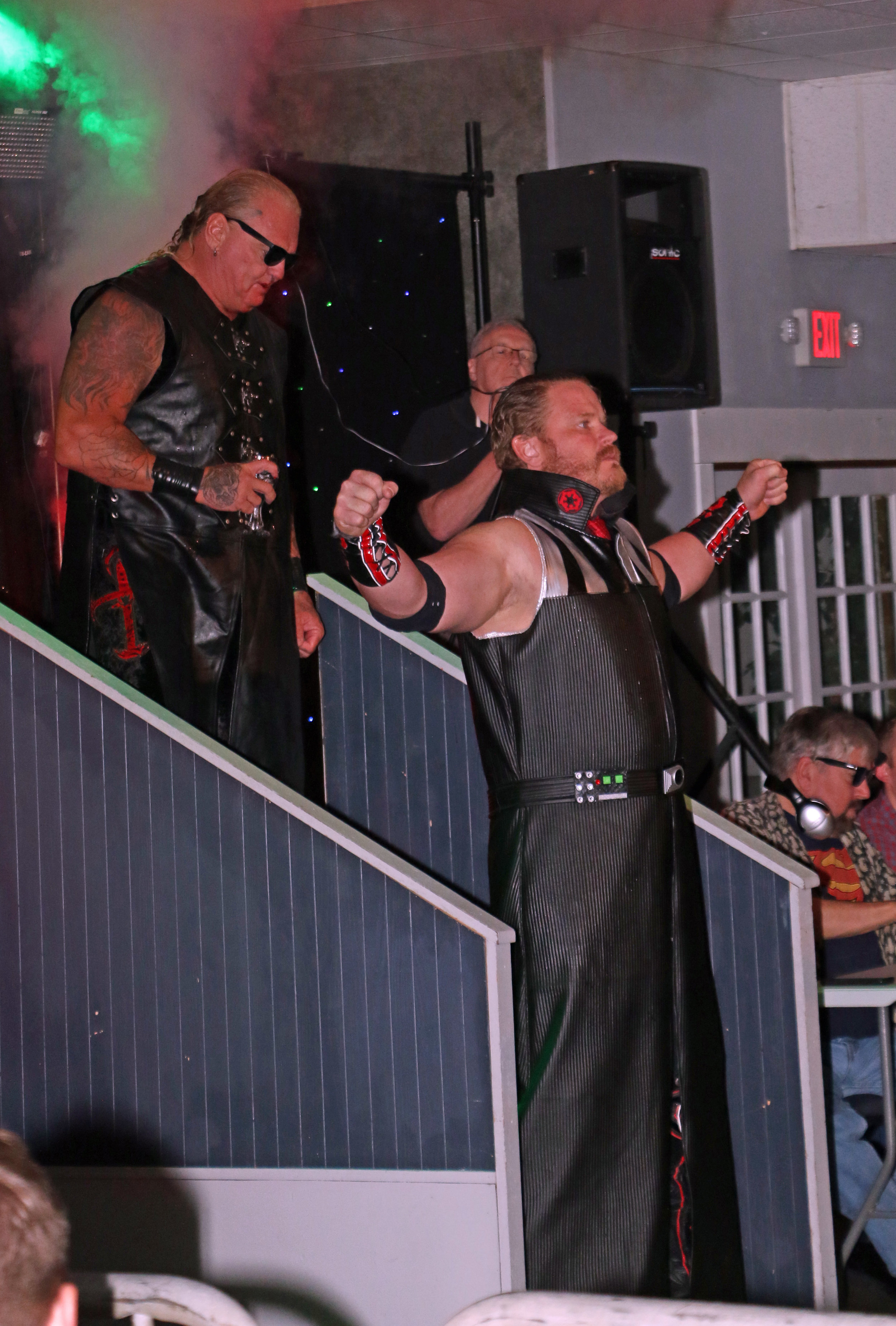 The Bite Club, Kevin Thorn, right, and Gangrel, enter the arena for the main event.