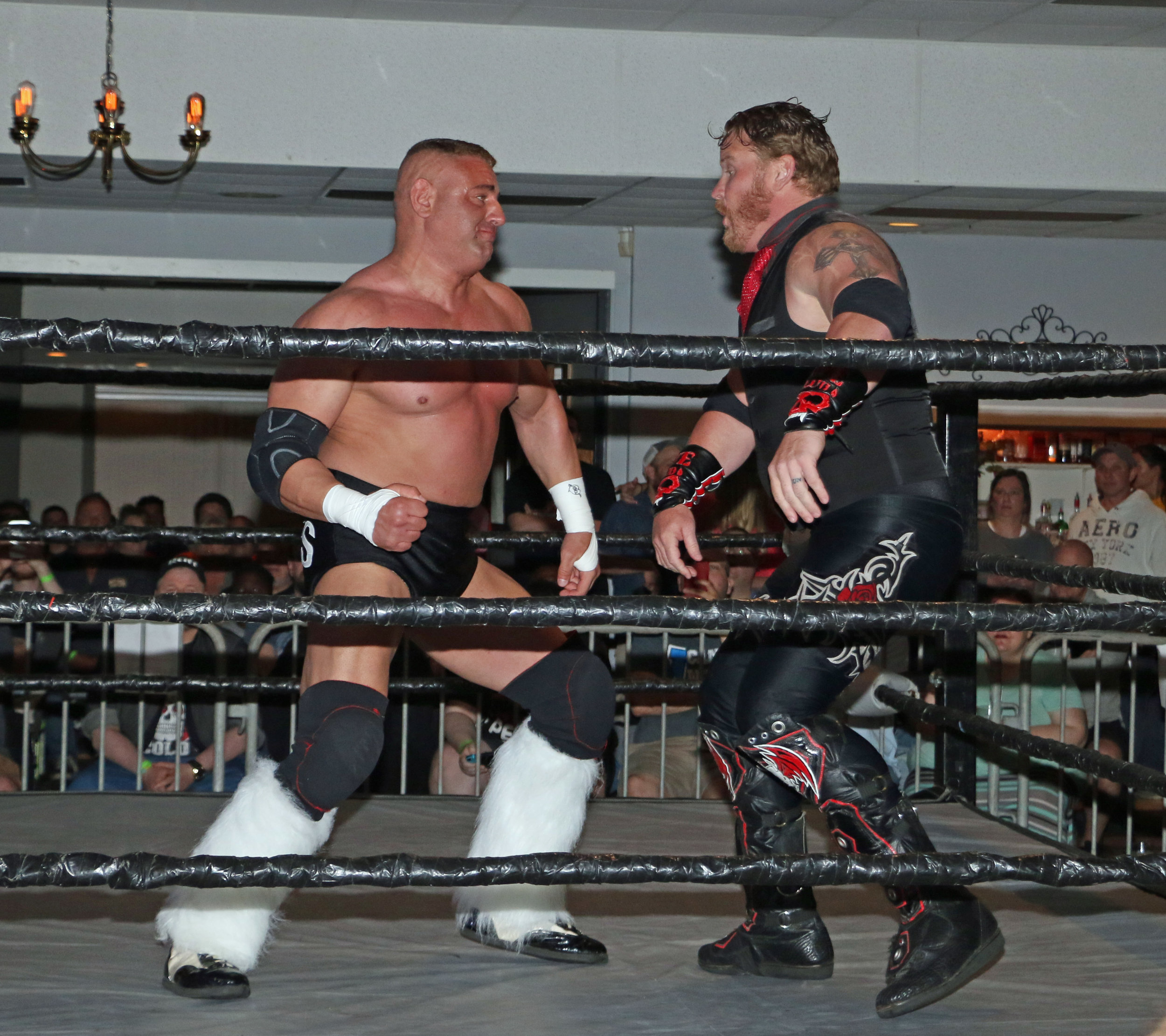 Ryan Kross exchanges blows with Kevin Thorn during the main event tag team match.