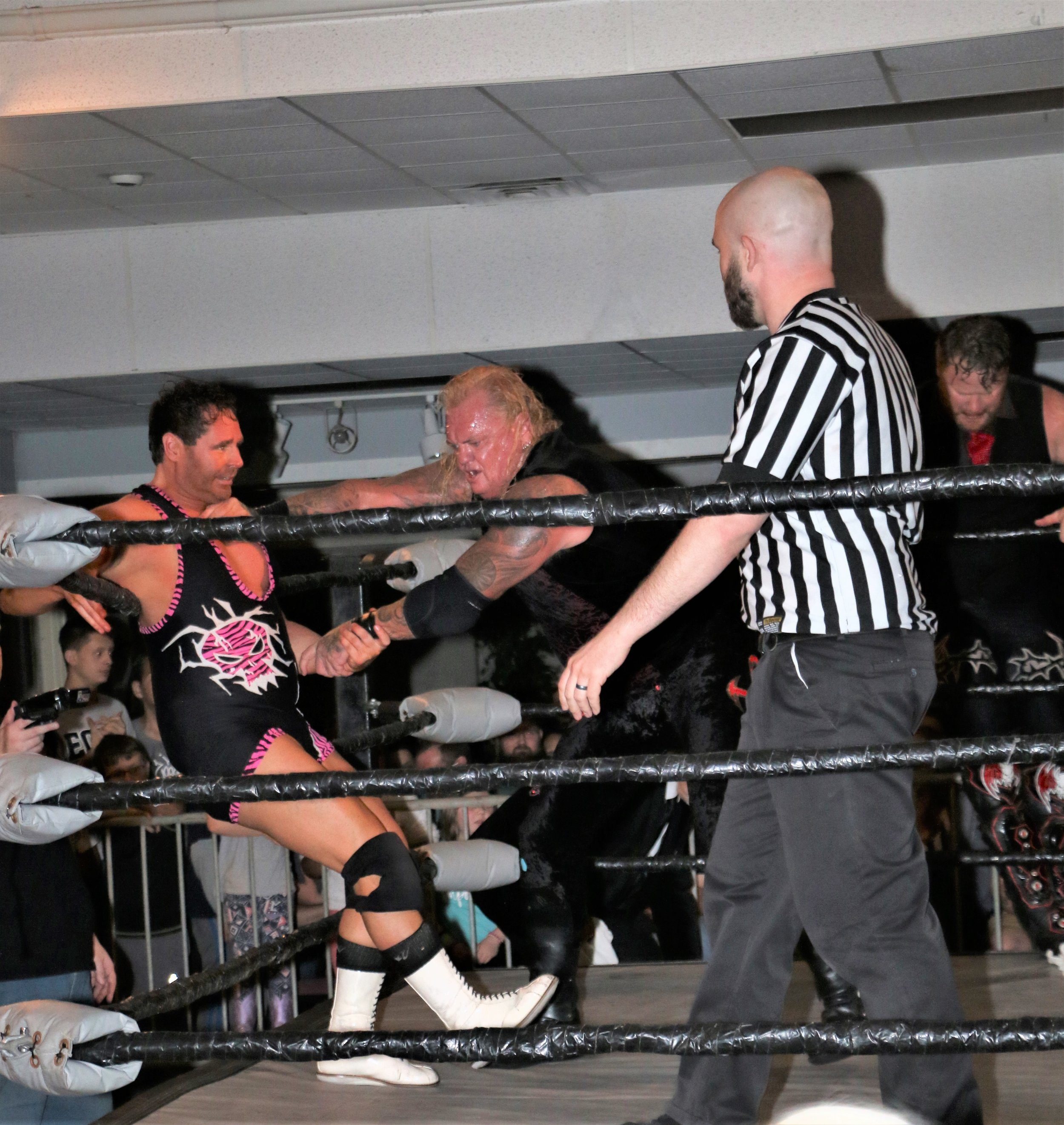 Gangrel gets ready to Irish whip Dr. Jeff Luxon.