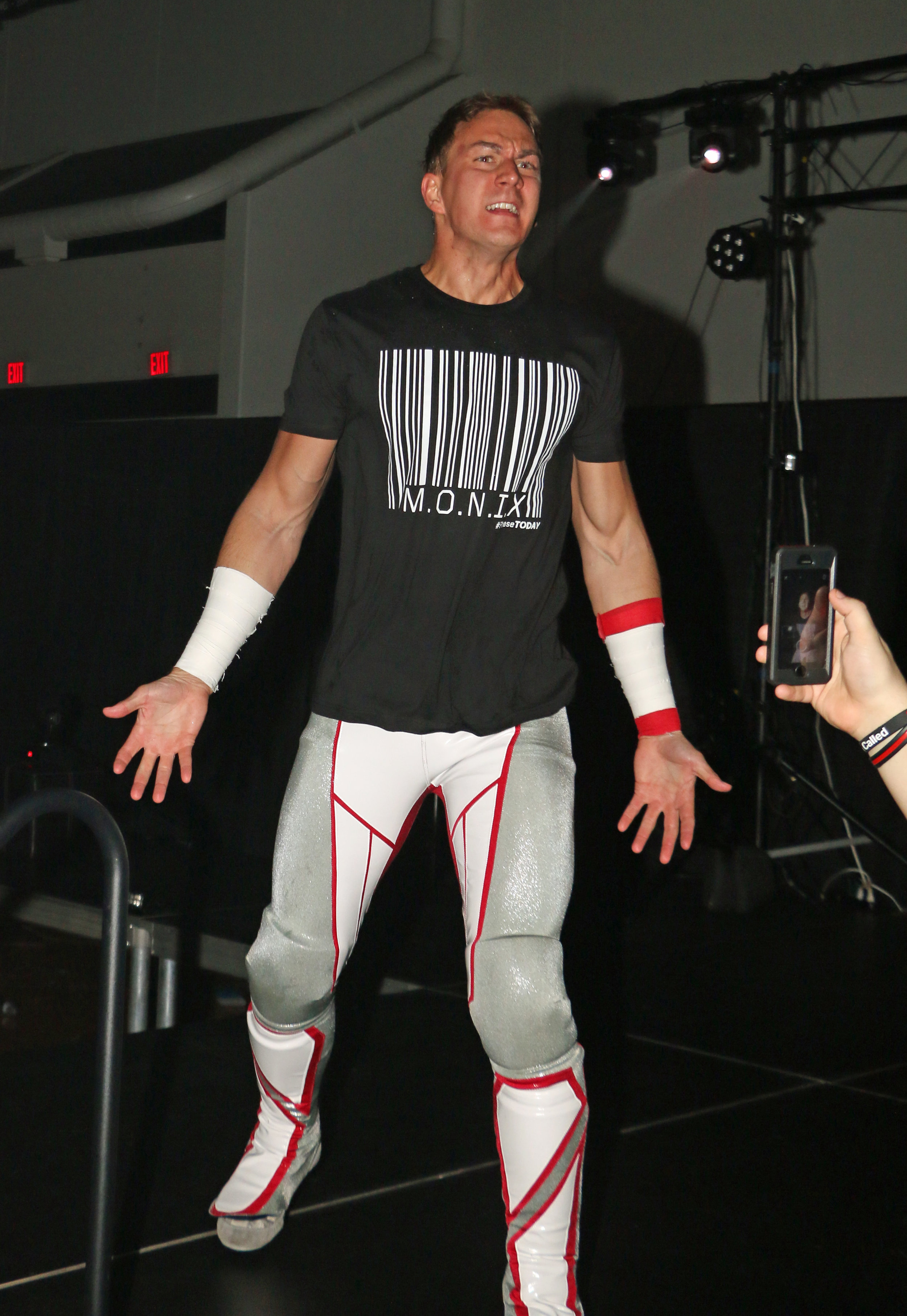 Pat Monix enters the arena at Warrior Wrestling 3 on Juanury 5, 2019. Monix, a five-year veteran in the wrestling business, was trained by Bryce Benjamin and influenced by wrestlers like Shawn Michaels, CM Punk, Ali and DJZ among others.  (Photo by Mike Pankow)