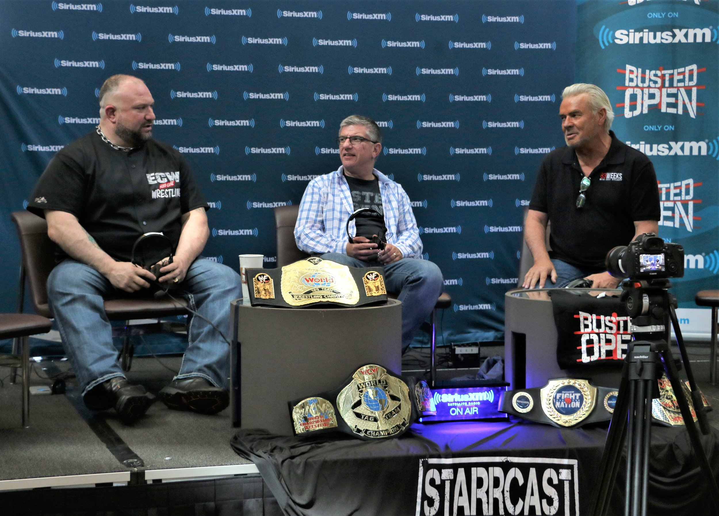 New Executive Director of SmackDown Live Eric Bischoff, right, talks with Bully Ray, left, and Dave LaGreca during a live episode of Busted Open last summer in suburban Chicago.  (Photo by Mike Pankow)