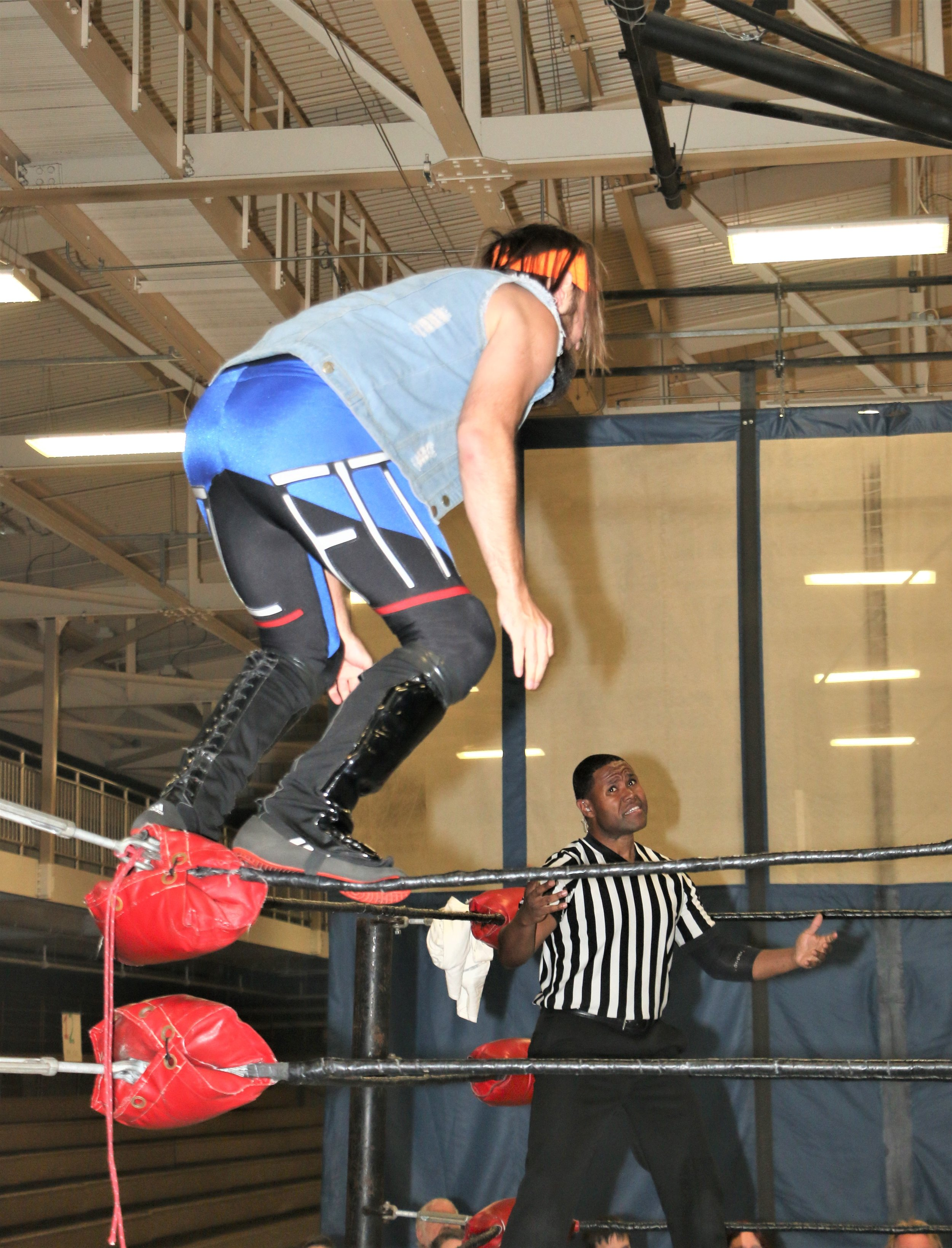Randy Fitzsimmons looks to dive off the top rope.