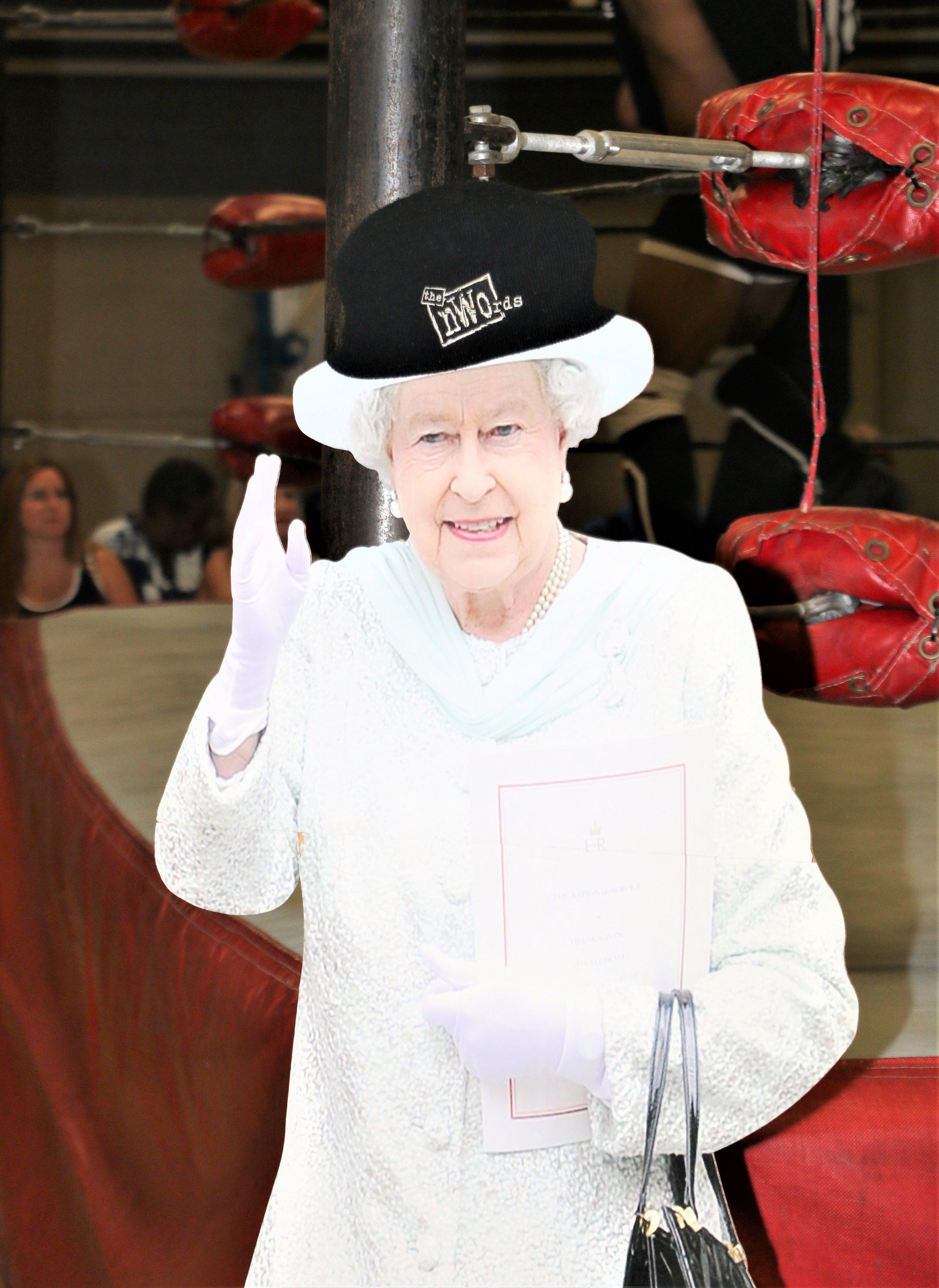 """""""Queen Elizabeth"""" at ringside."""