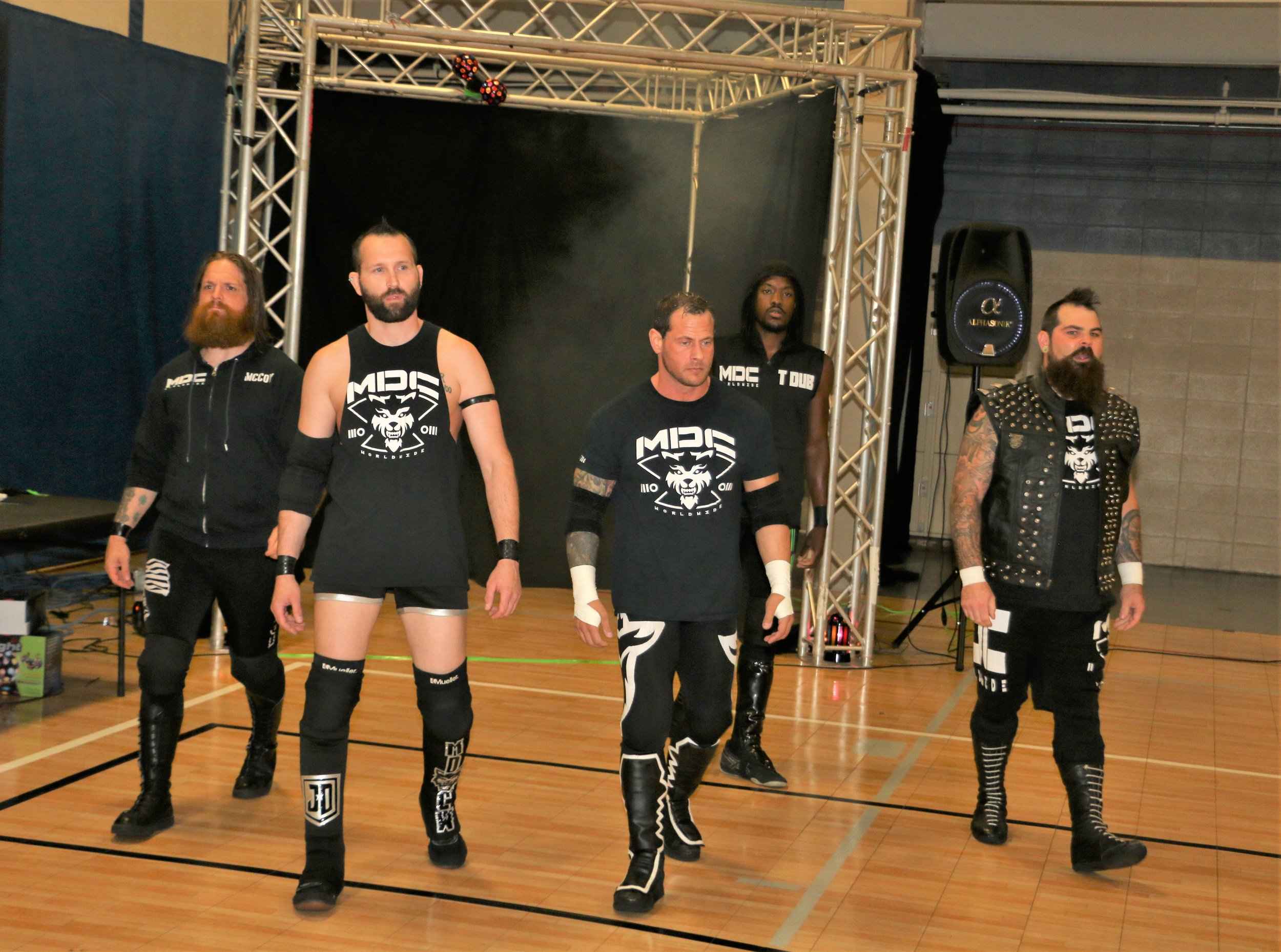 """Mad Dog Club Worldwide,"" featuring Ben McCoy, from left, Justin Dredd, Vic Capri, TW3 and Nick Colucci."