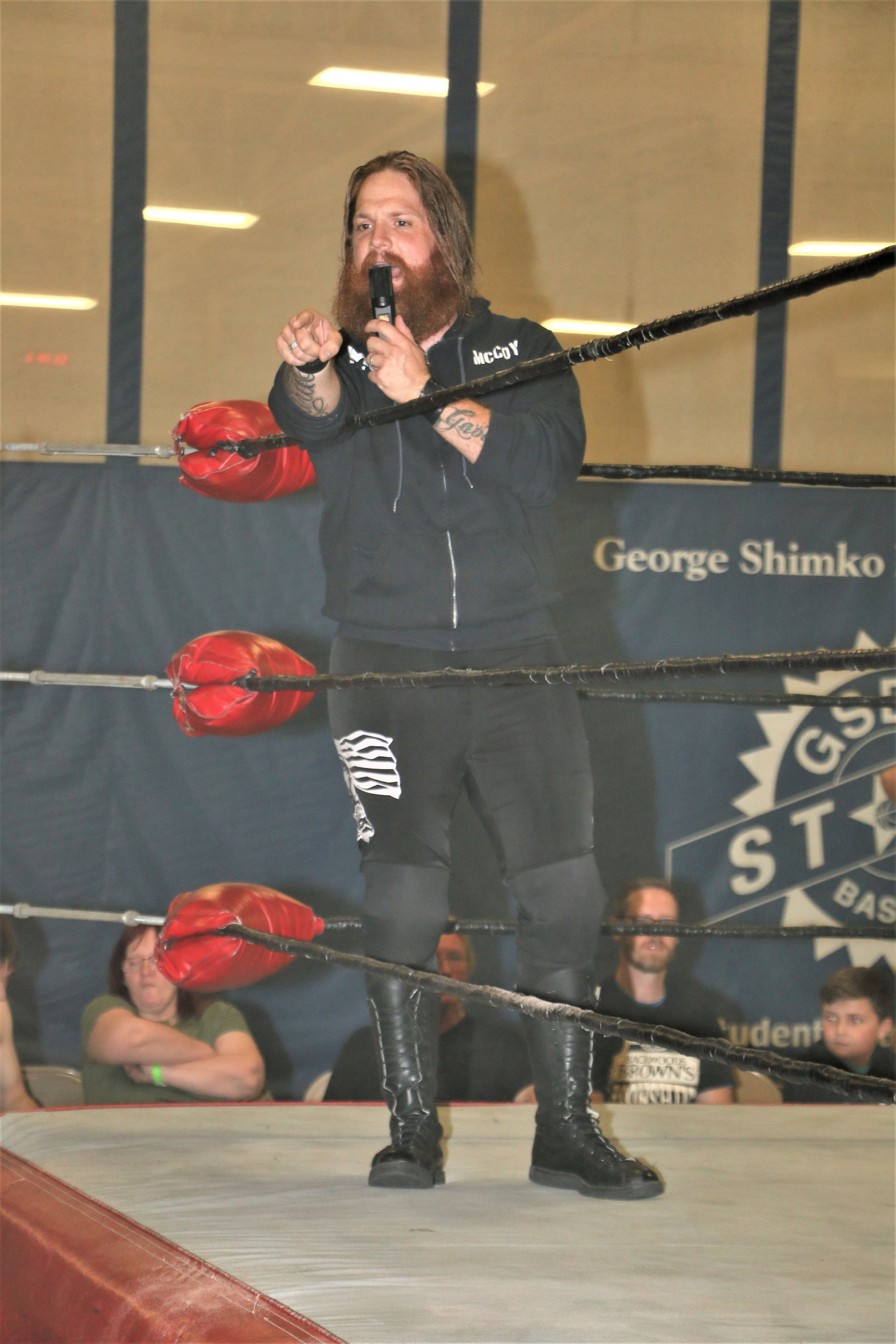 Ben McCoy runs down the crowd before the 10-man elimination tag-team match.